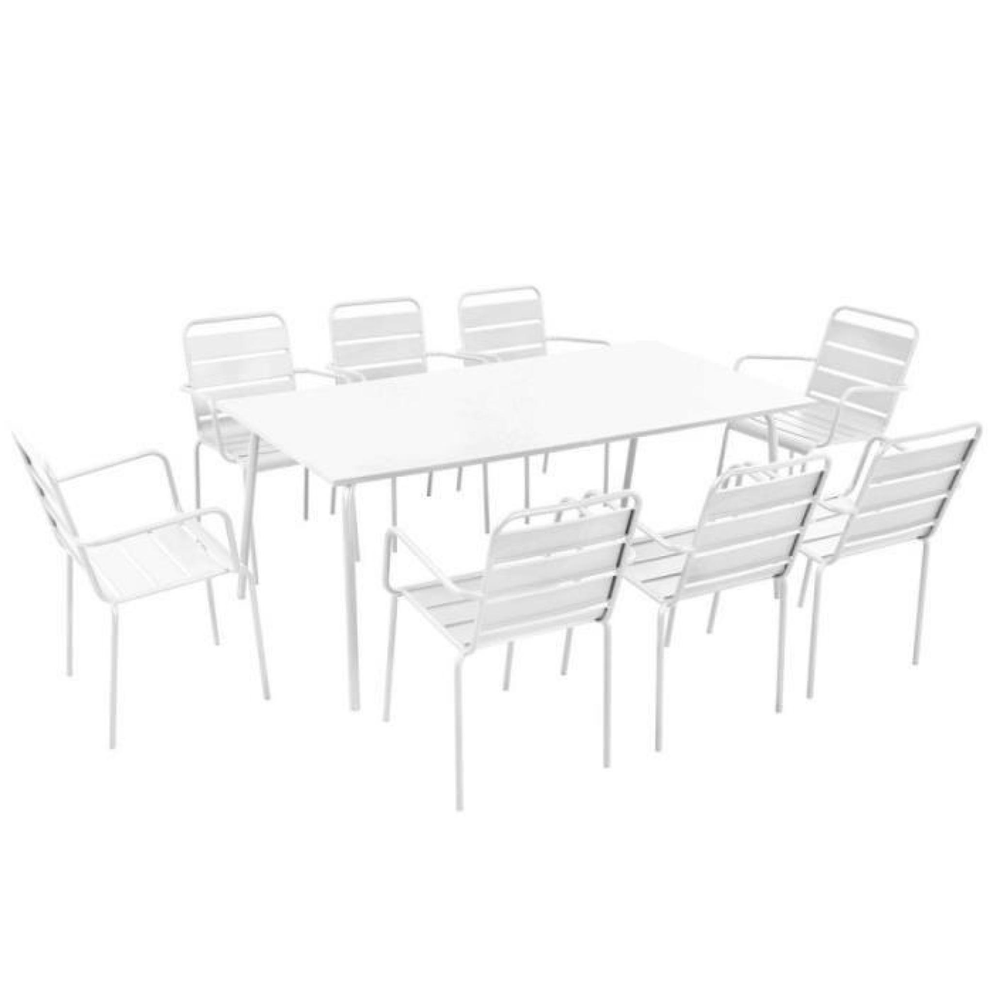 Salon de jardin en acier 8 places Ensemble en acier Blanc - Achat ...