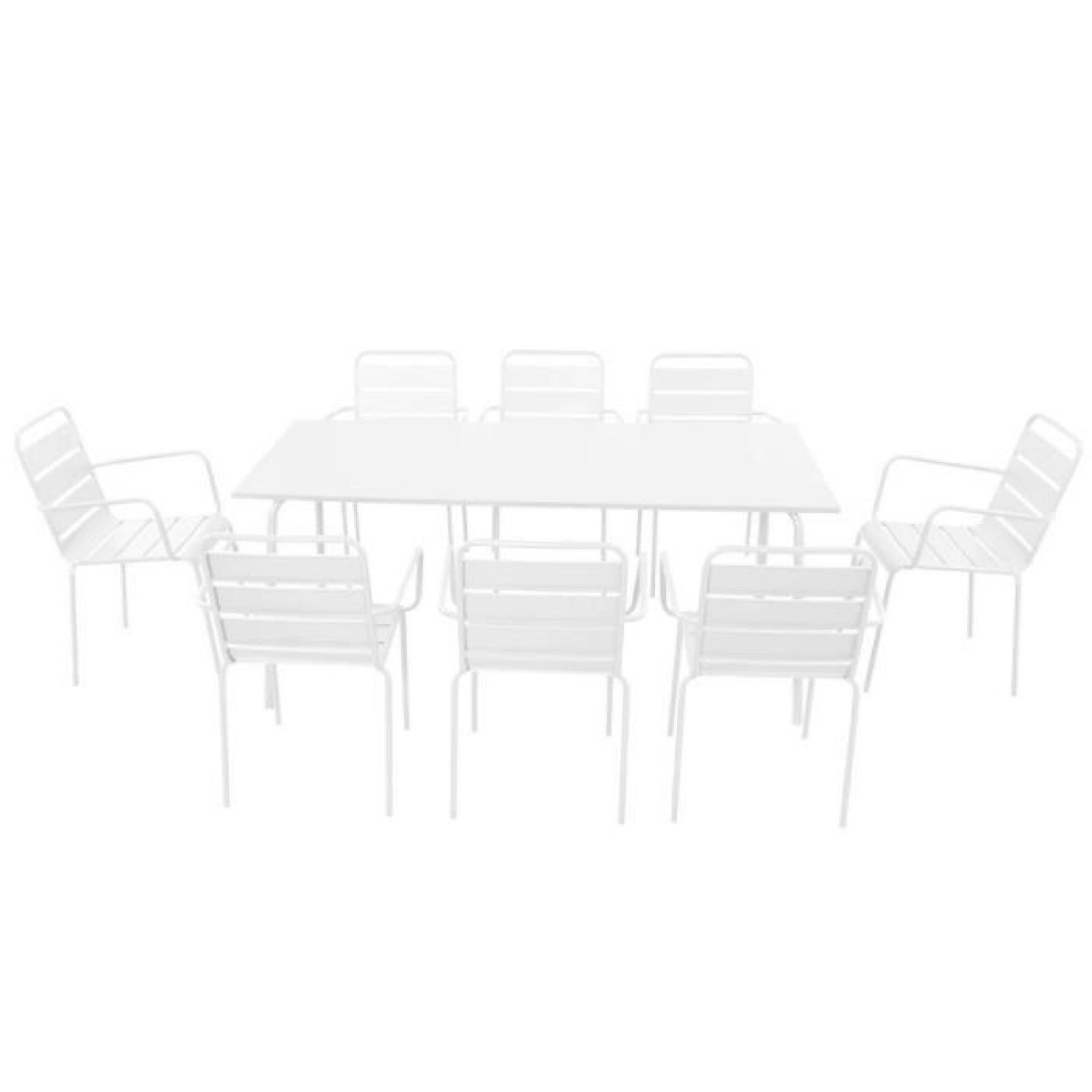 Salon de jardin en acier 8 places Ensemble en acier Blanc
