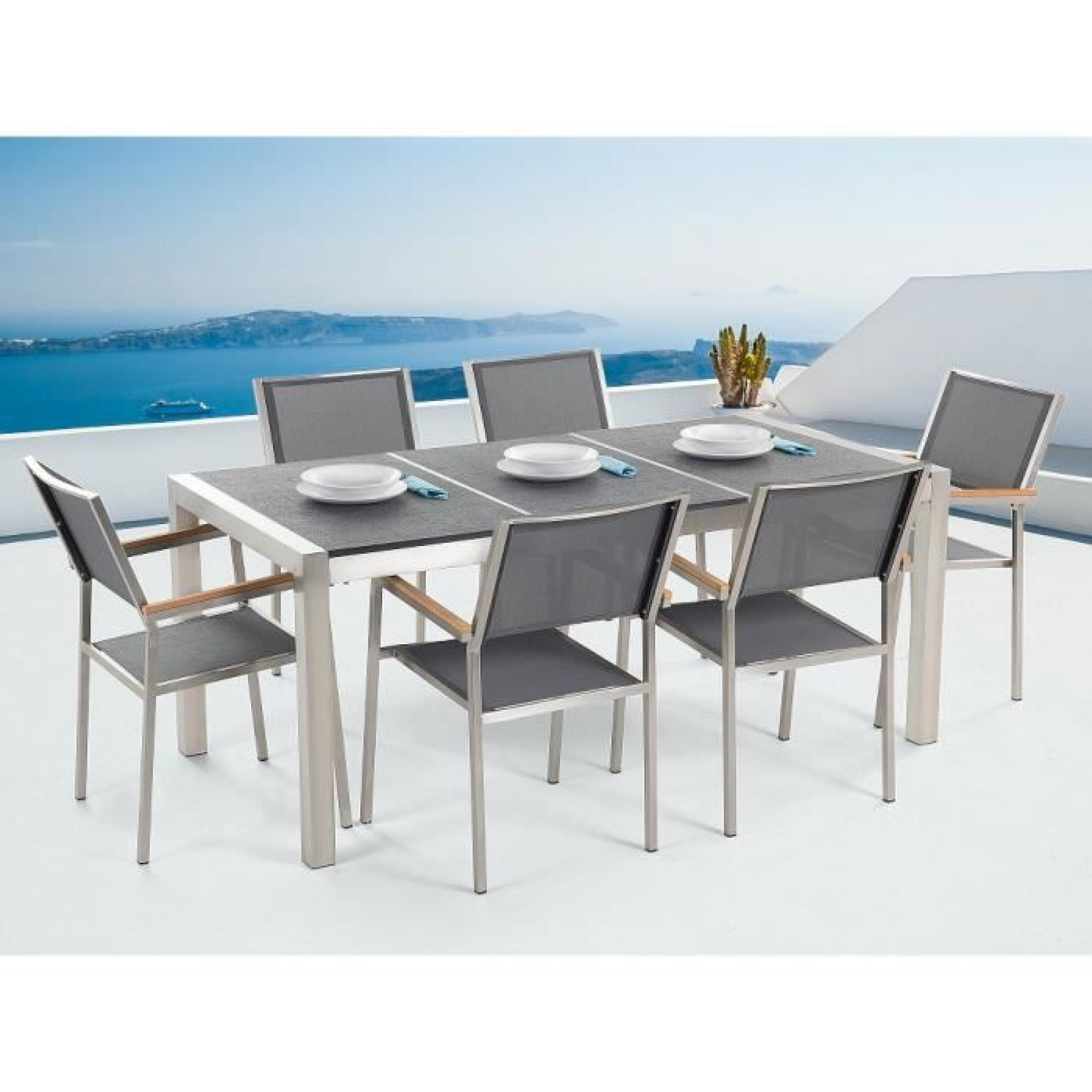 table de jardin acier inox plateau granit triple noir poli 180 cm avec 6 chaises en textile. Black Bedroom Furniture Sets. Home Design Ideas