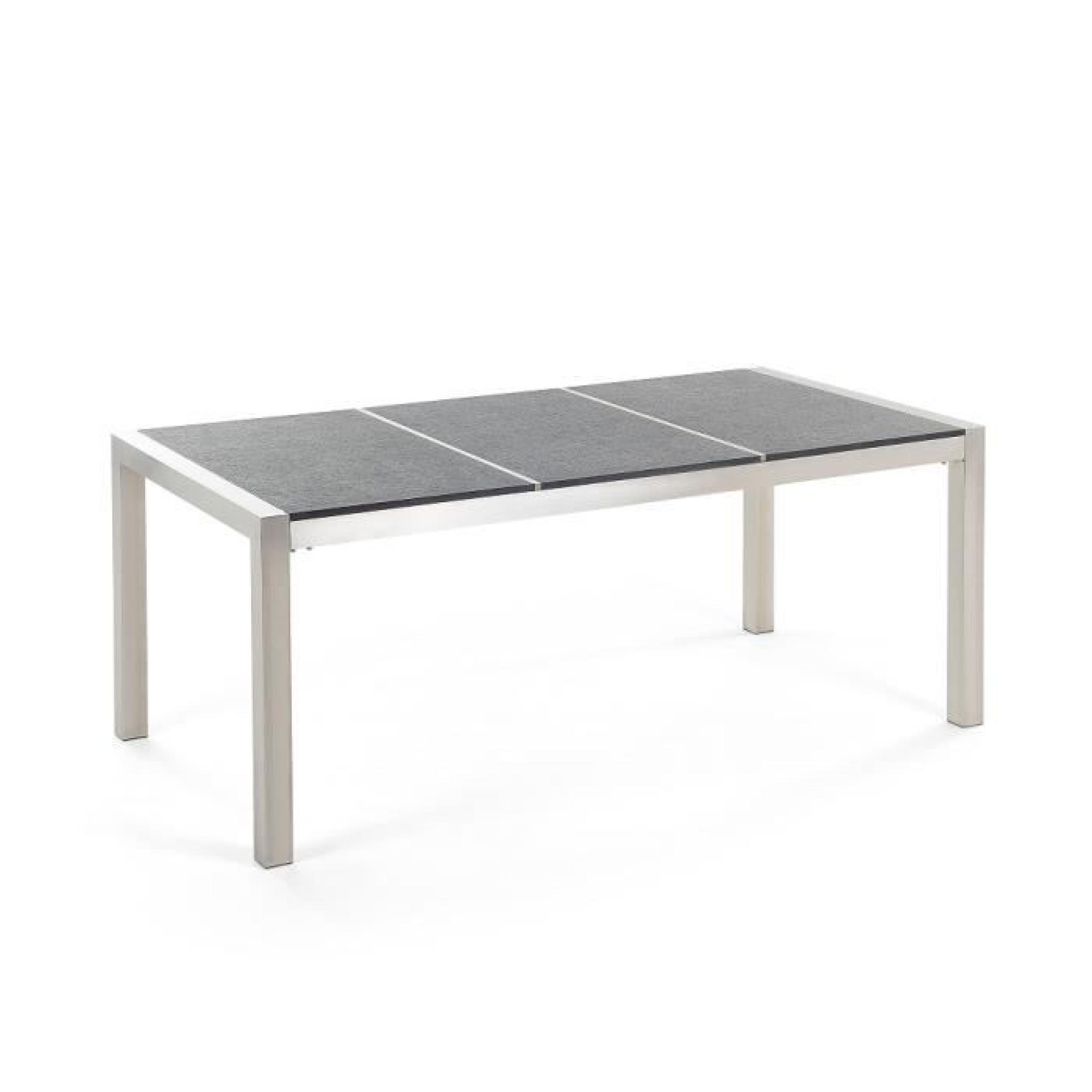Table de jardin acier inox - plateau granit triple bois 220 cm avec ...