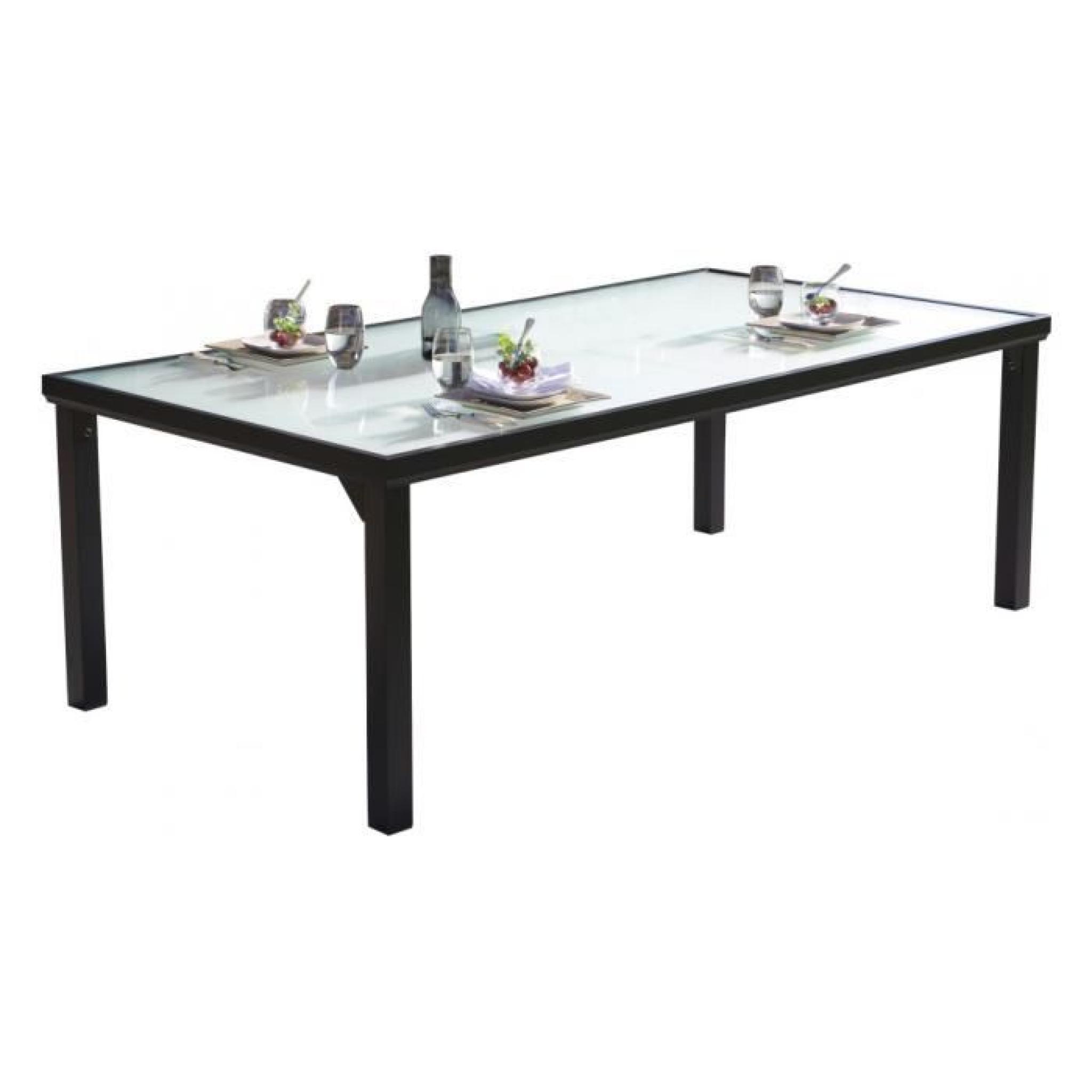 Table de jardin aluminium noir plateau verre trempé L210
