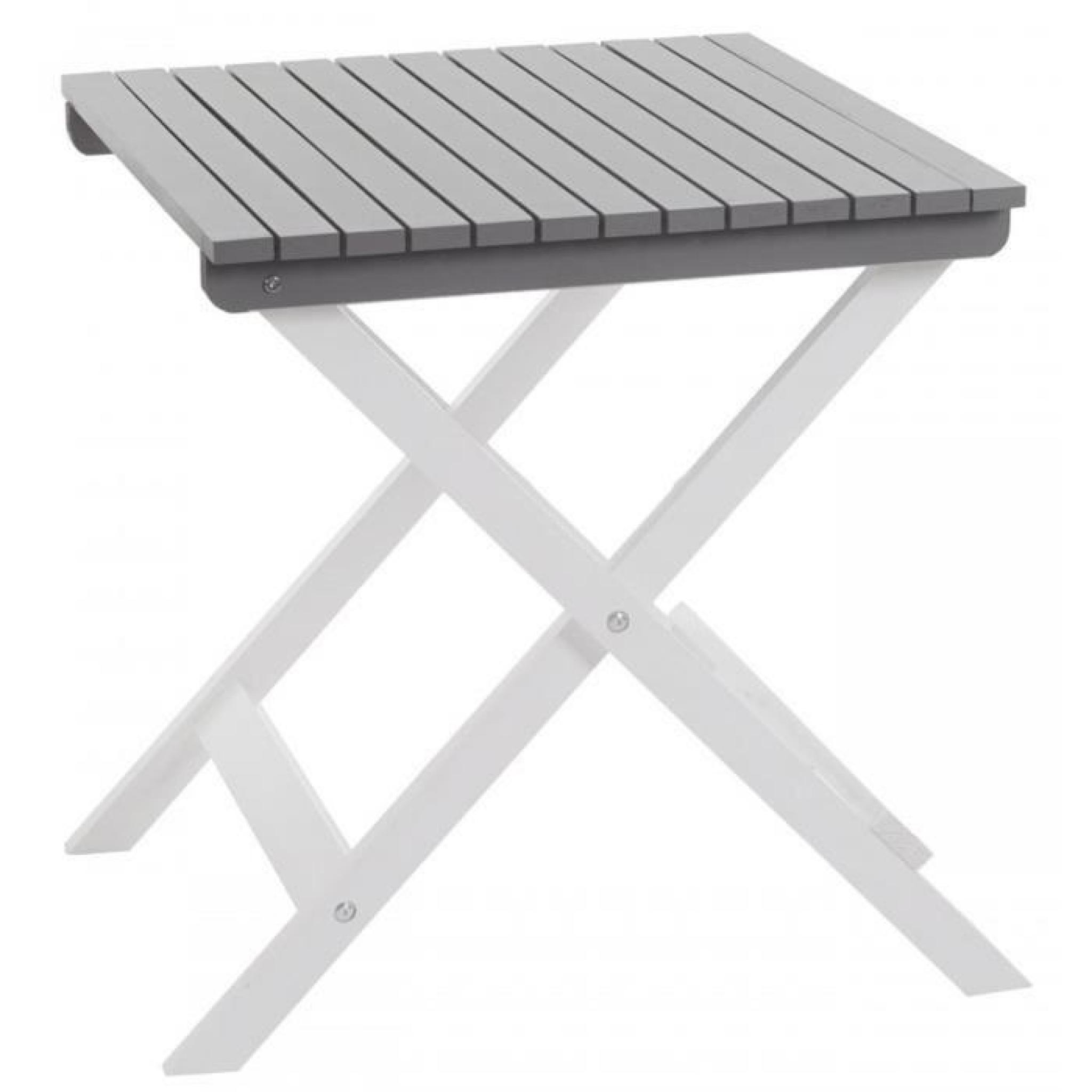 Table de jardin en bois coloris gris - Dim : H 75 x L 65 x P 64,5 cm