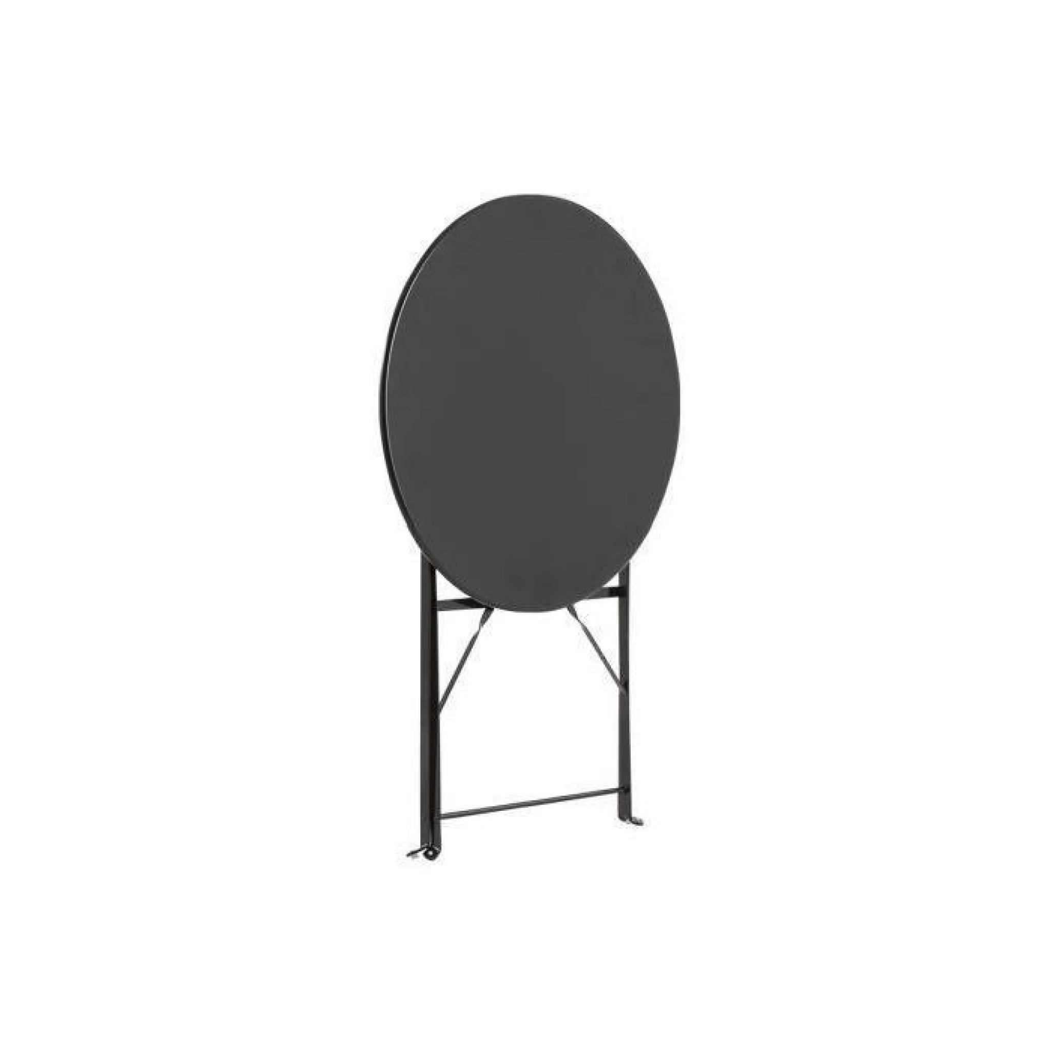 Table de jardin olivia Ronde Noire 2 places, 60 x 70 cm