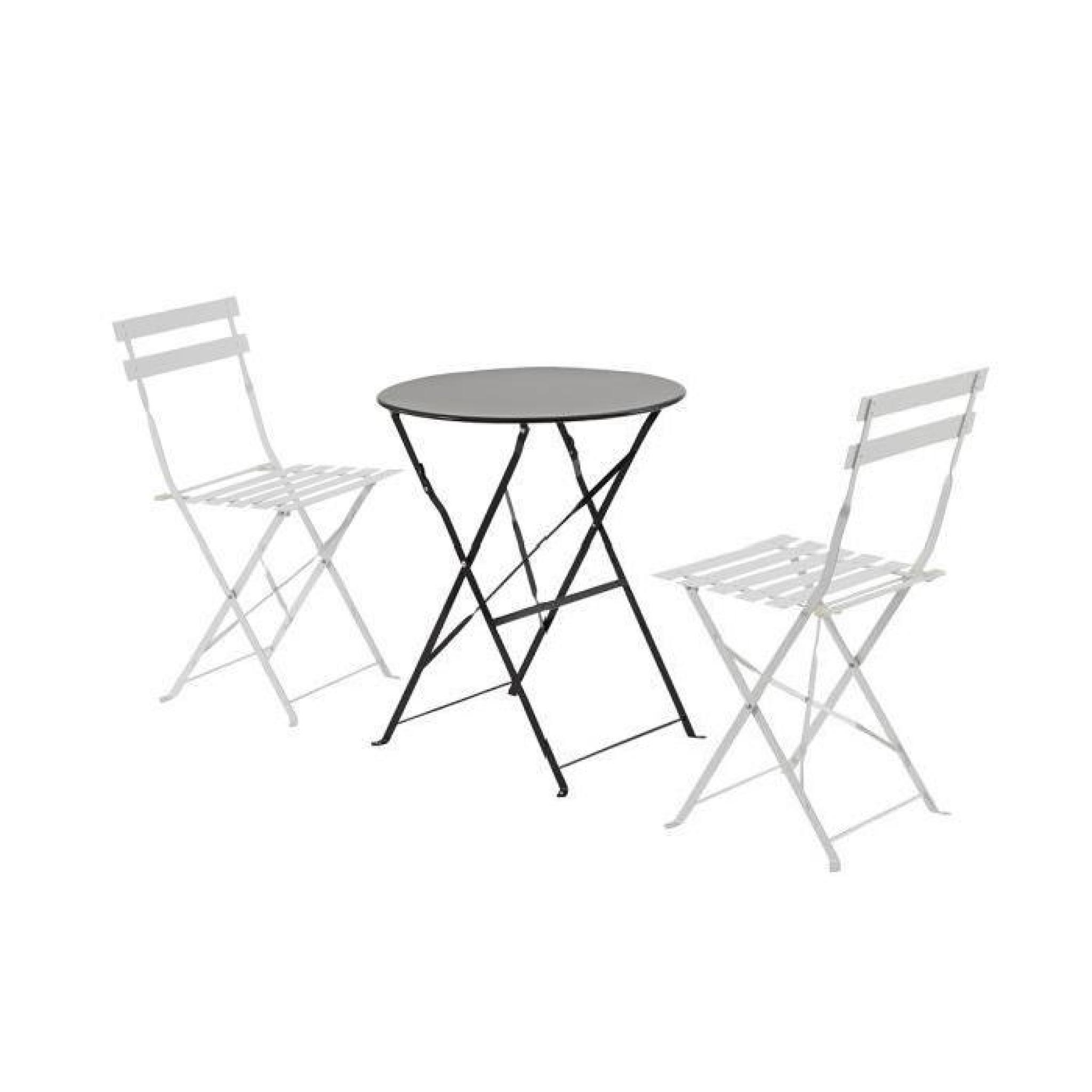 Table de jardin olivia Ronde Noire 2 places, 60 x 70 cm - Achat ...