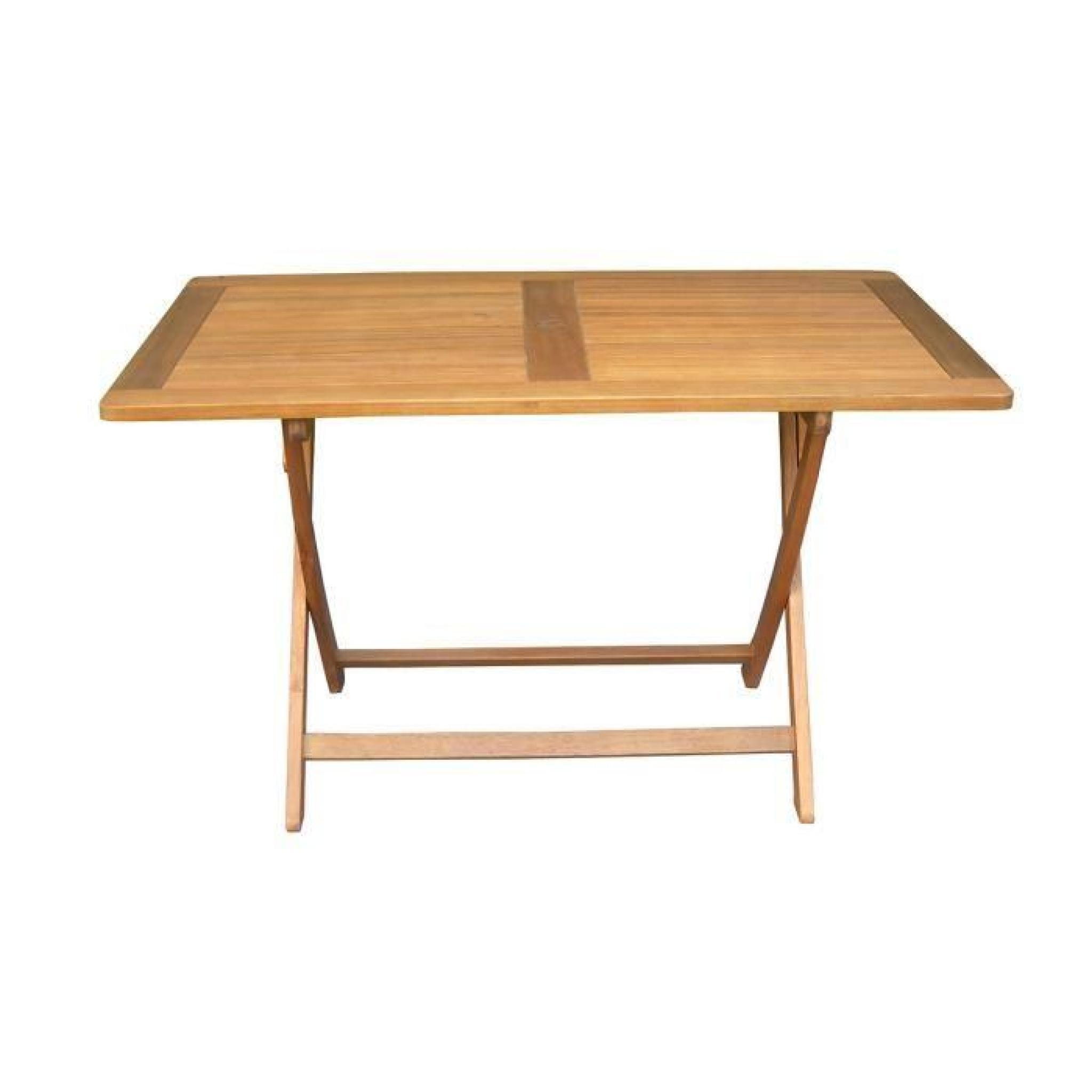 Table de jardin pliante forme rectangulaire en bois exotique - Dim ...