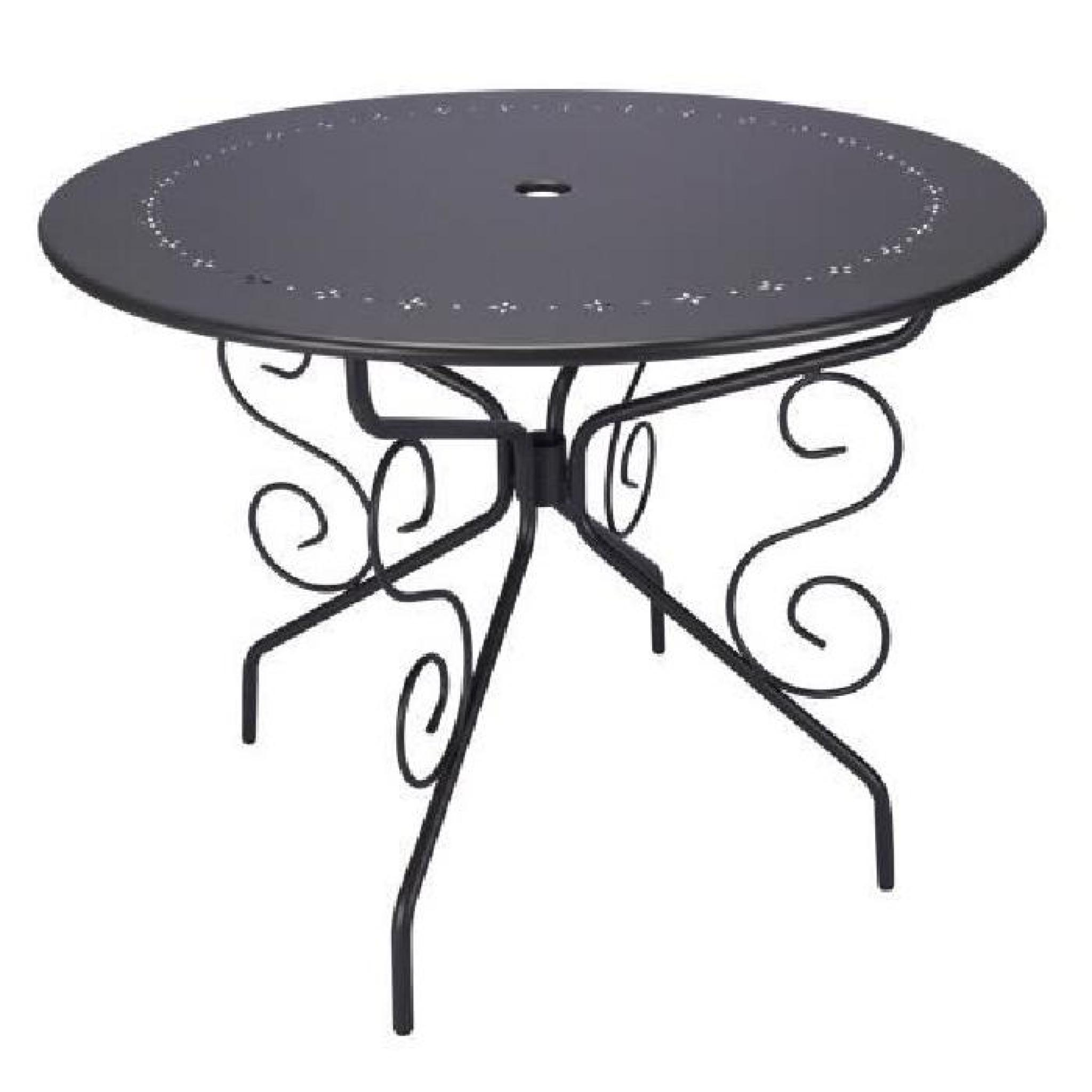 TABLE DE JARDIN RONDE D95CM ROMANTIQUE GRIS ANTHRACITE 4 PLACES ...