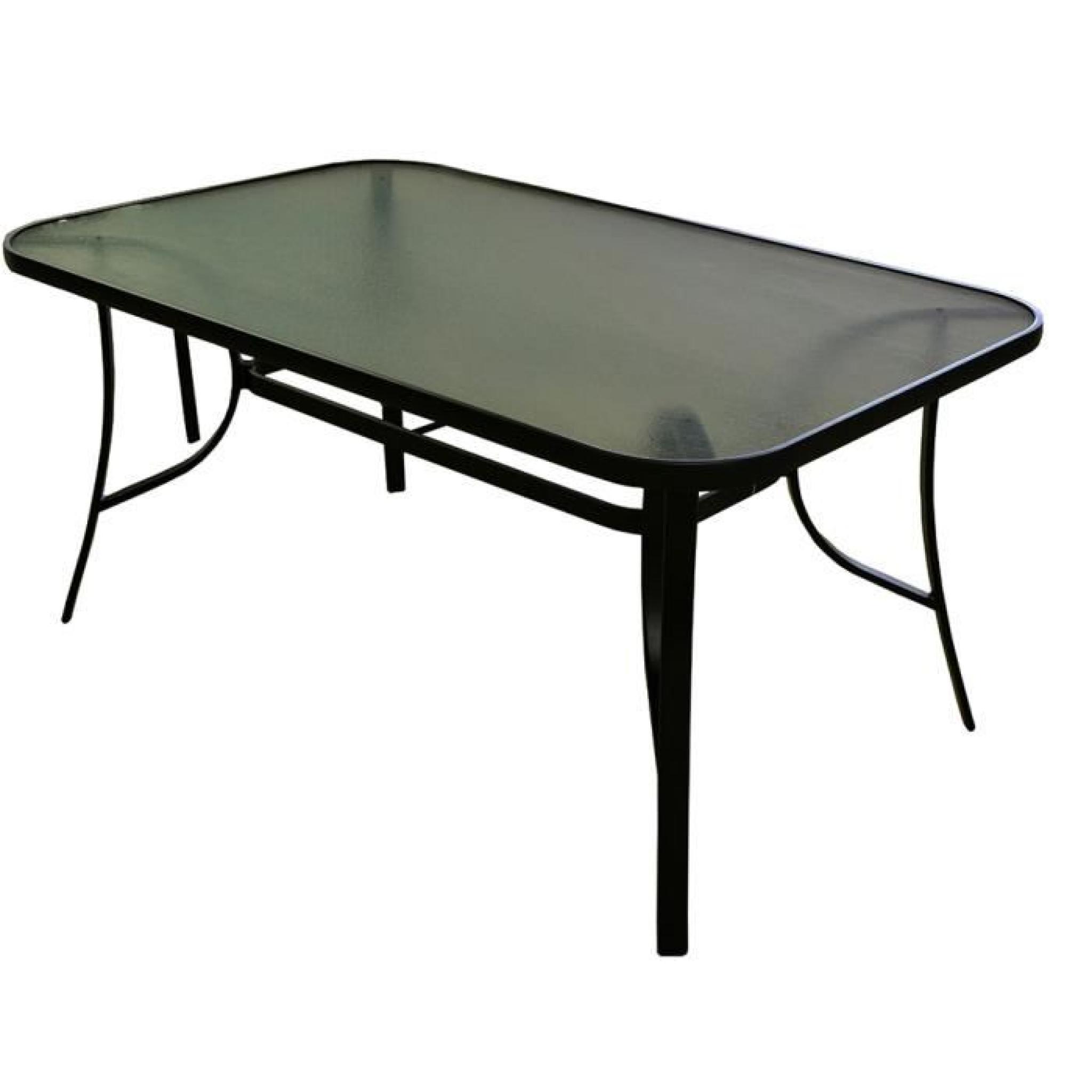 Table en aluminium gris anthracite avec plateau en verre tremp translucide dim 72 x 153 x - Table plateau verre trempe ...