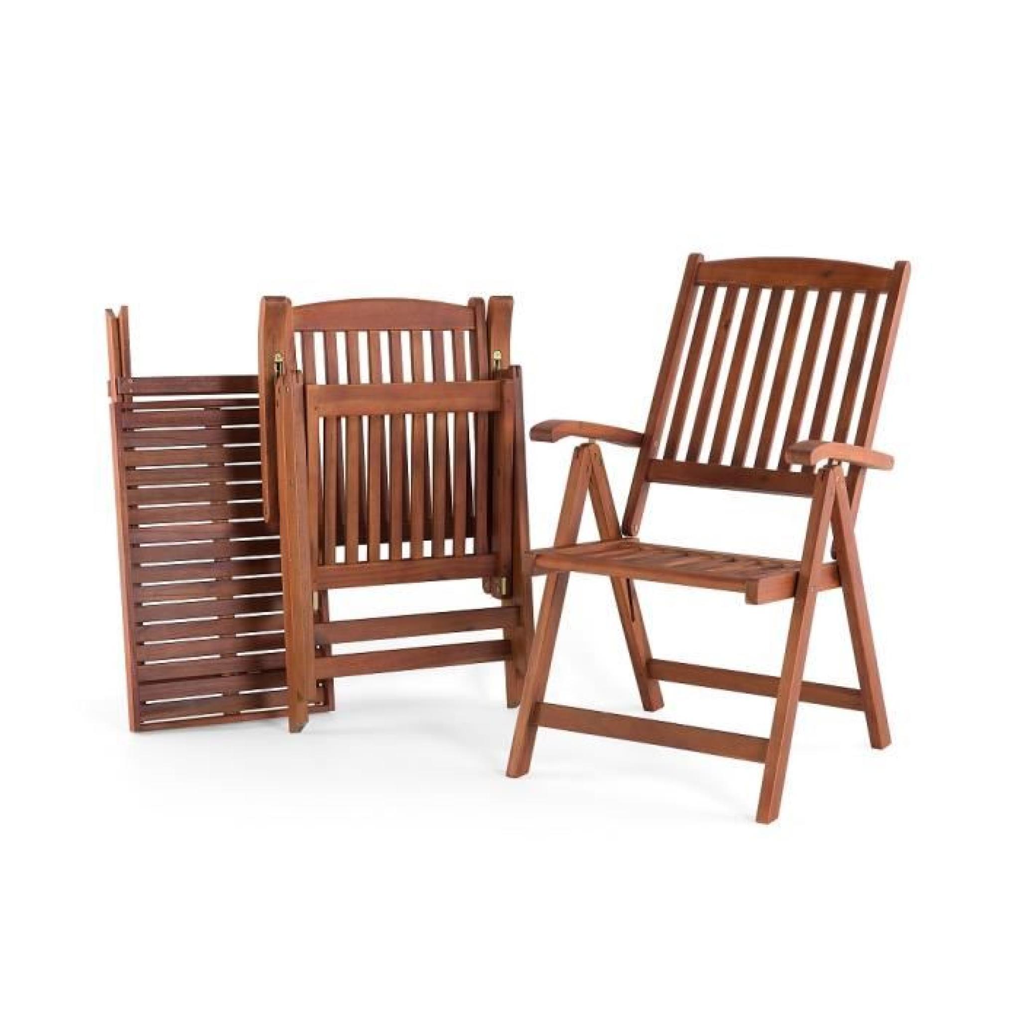 Table et 2 chaises de jardin en bois avec coussins beiges - Toscana ...