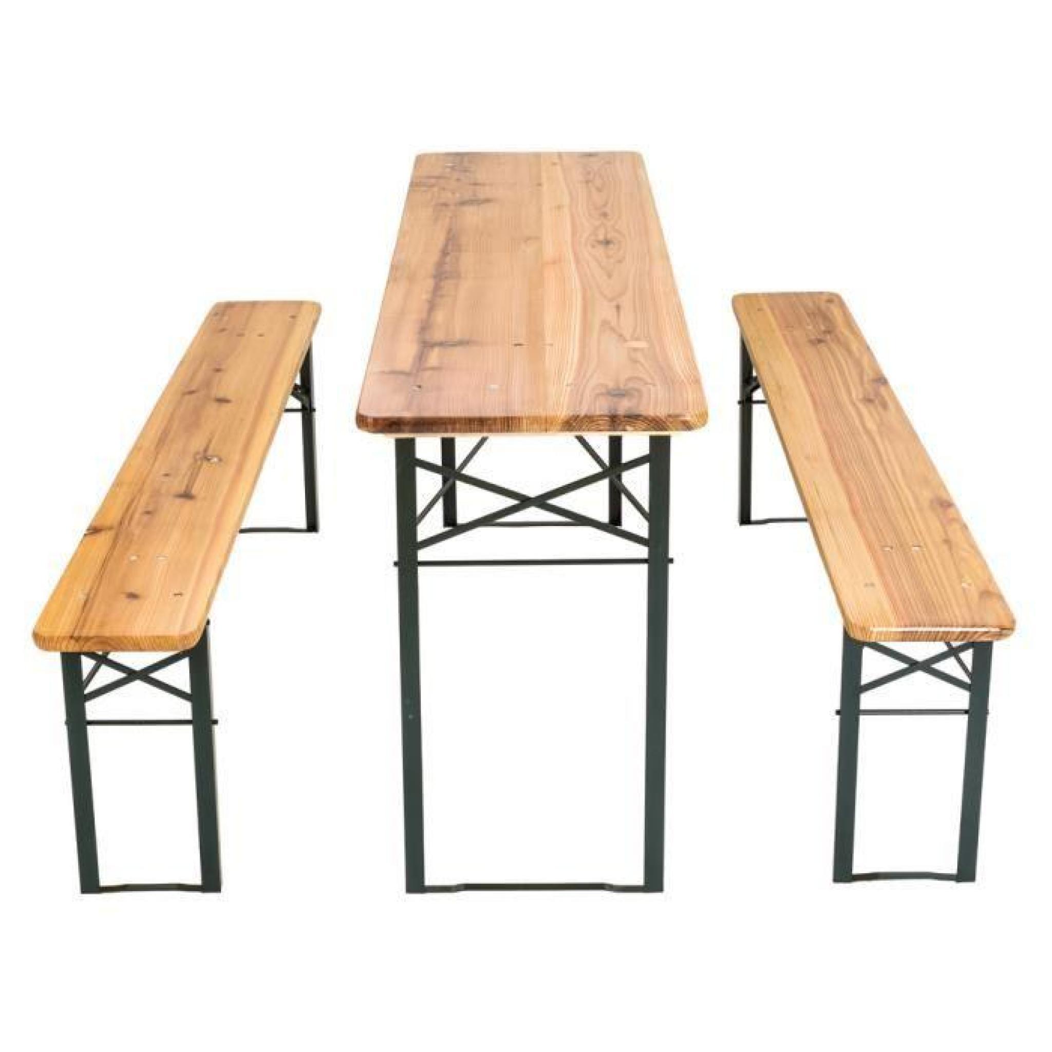 Table et bancs pliant en bois, Table de Jardin, Table de Réception, Table  de Camping TECTAKE