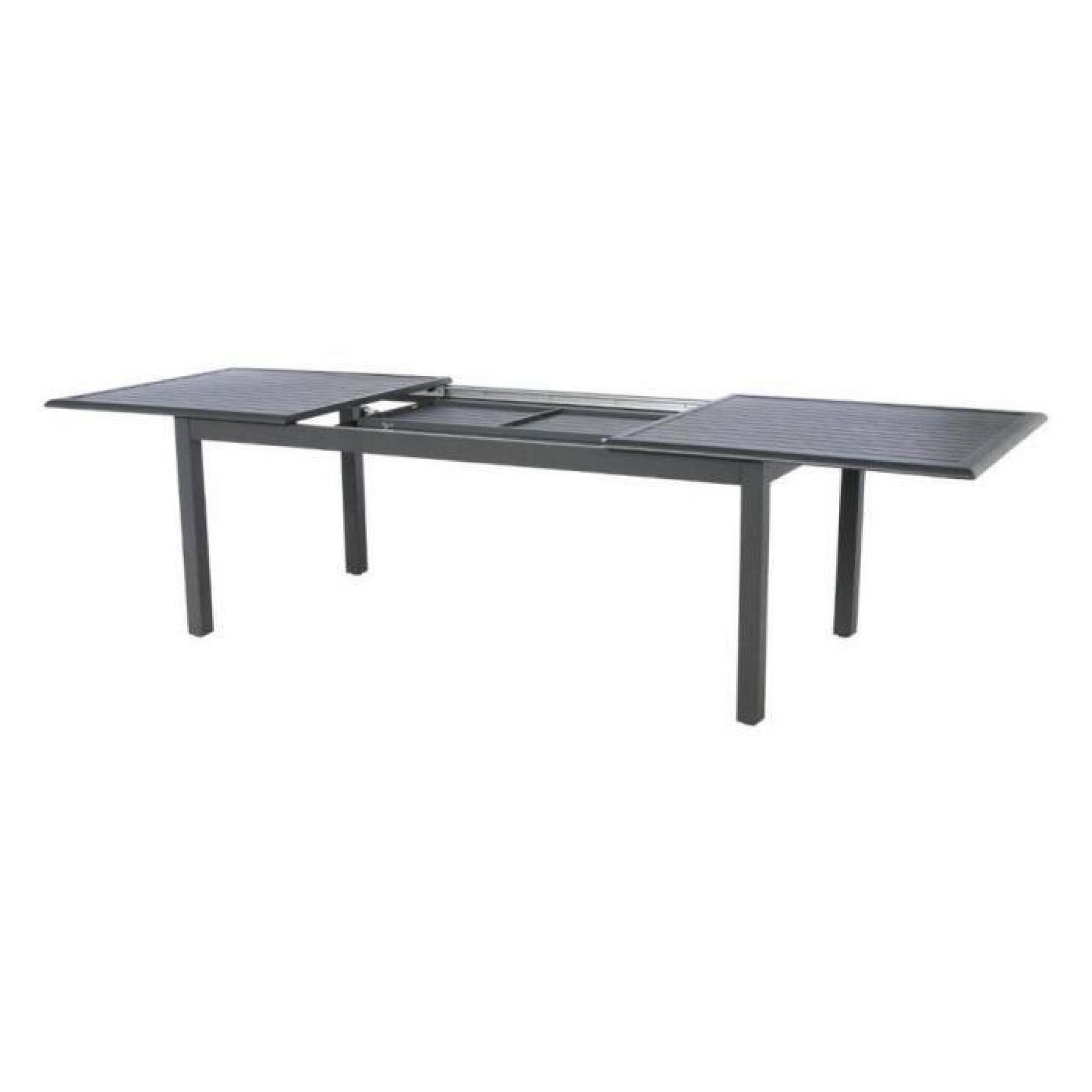 TABLE EXTENSIBLE AZUA 12 P. noir très légérement moucheté dit ...