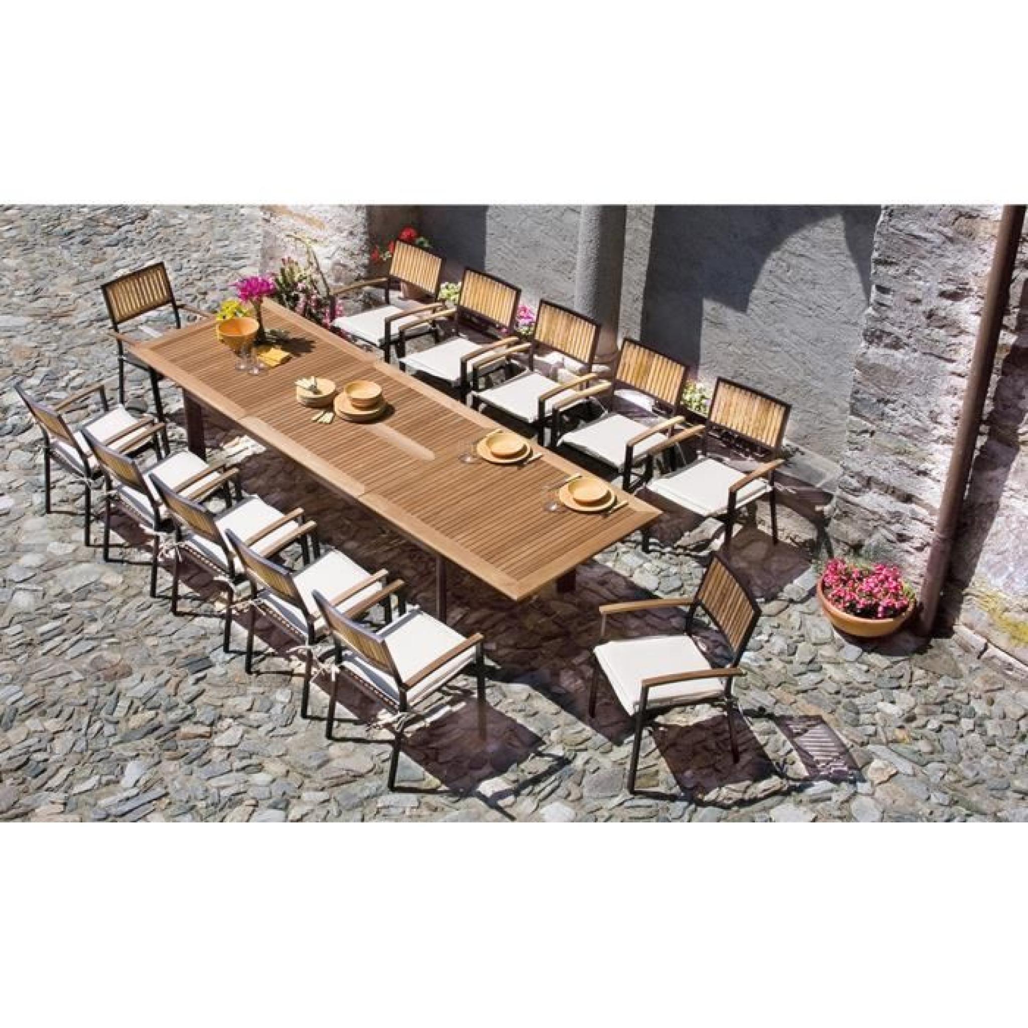 Table extensible de jardin en aluminium noir et bois teck - Table de jardin en bois pas cher ...