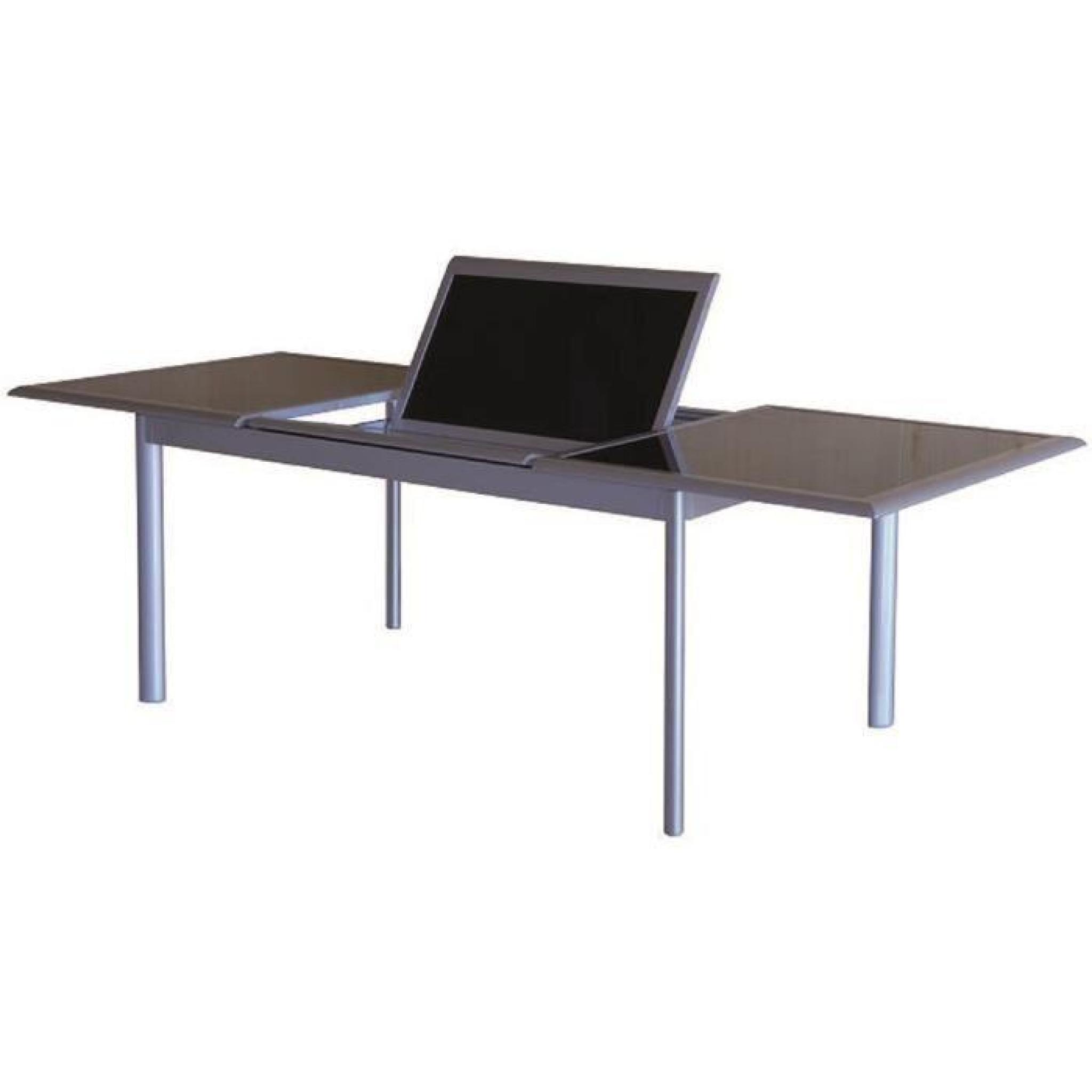 Table Extensible En Aluminium Noir Opaque Avec Plateau En Verre