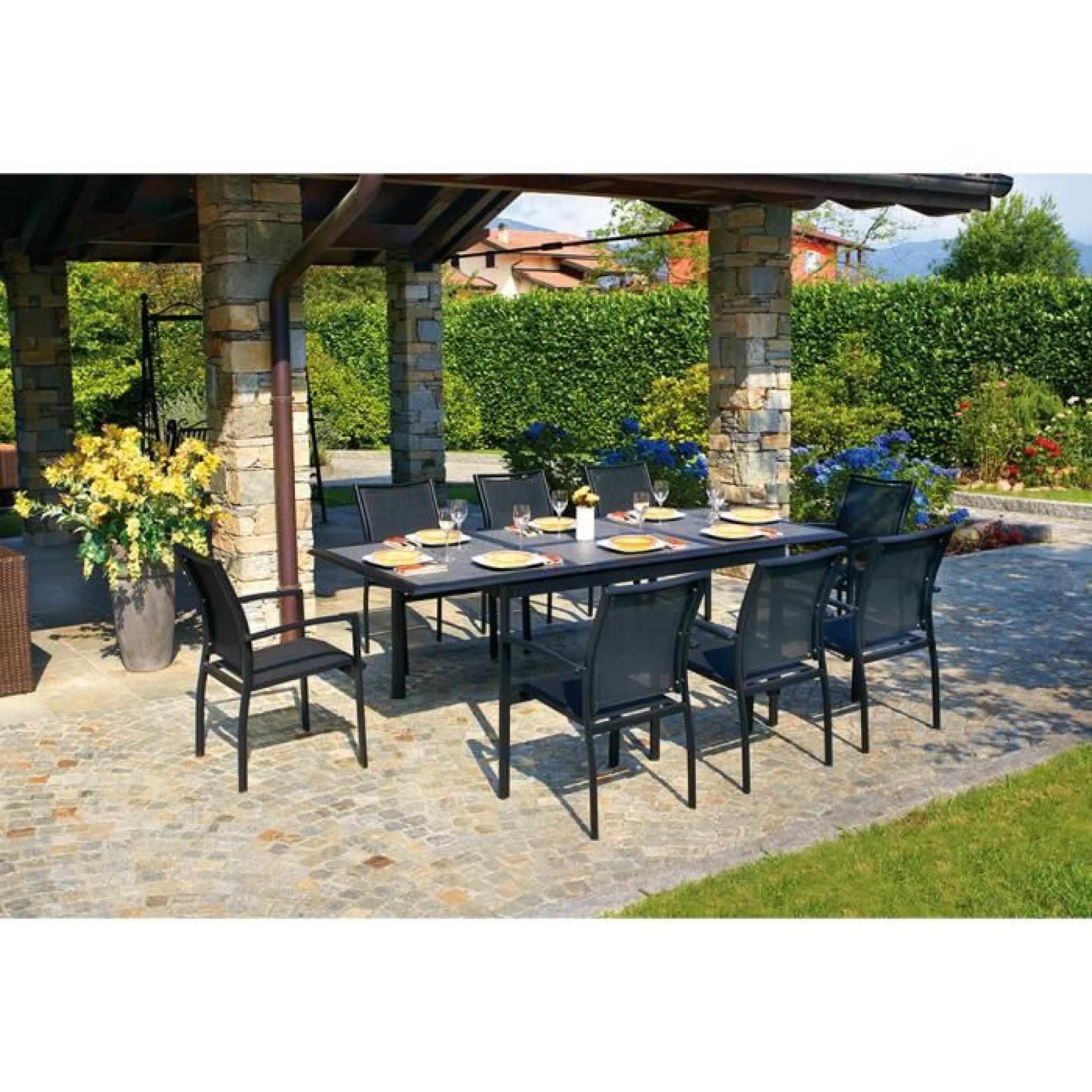 Table extensible en aluminium noir opaque avec plateau en verre imitation  pierre - Dim : 76 x 160-240 x 100 cm