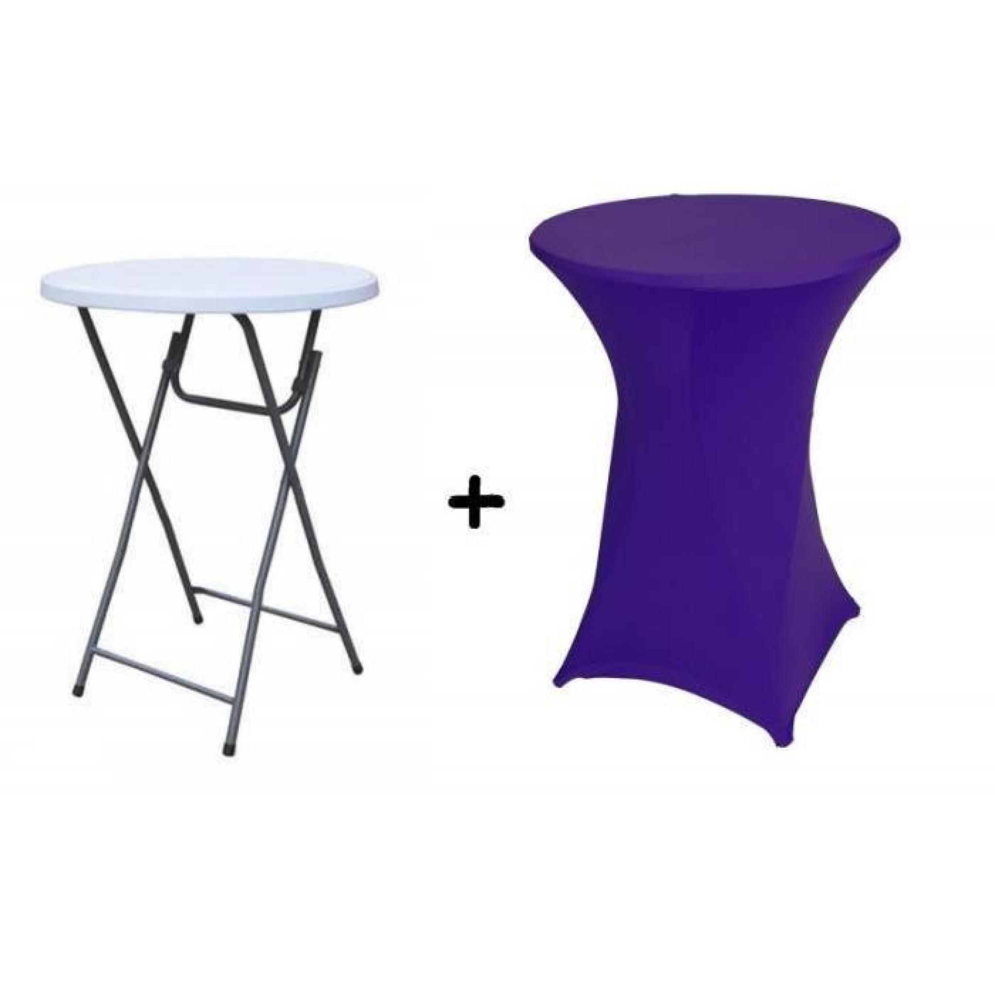 Table haute bar pliante mange debout + Housse violette