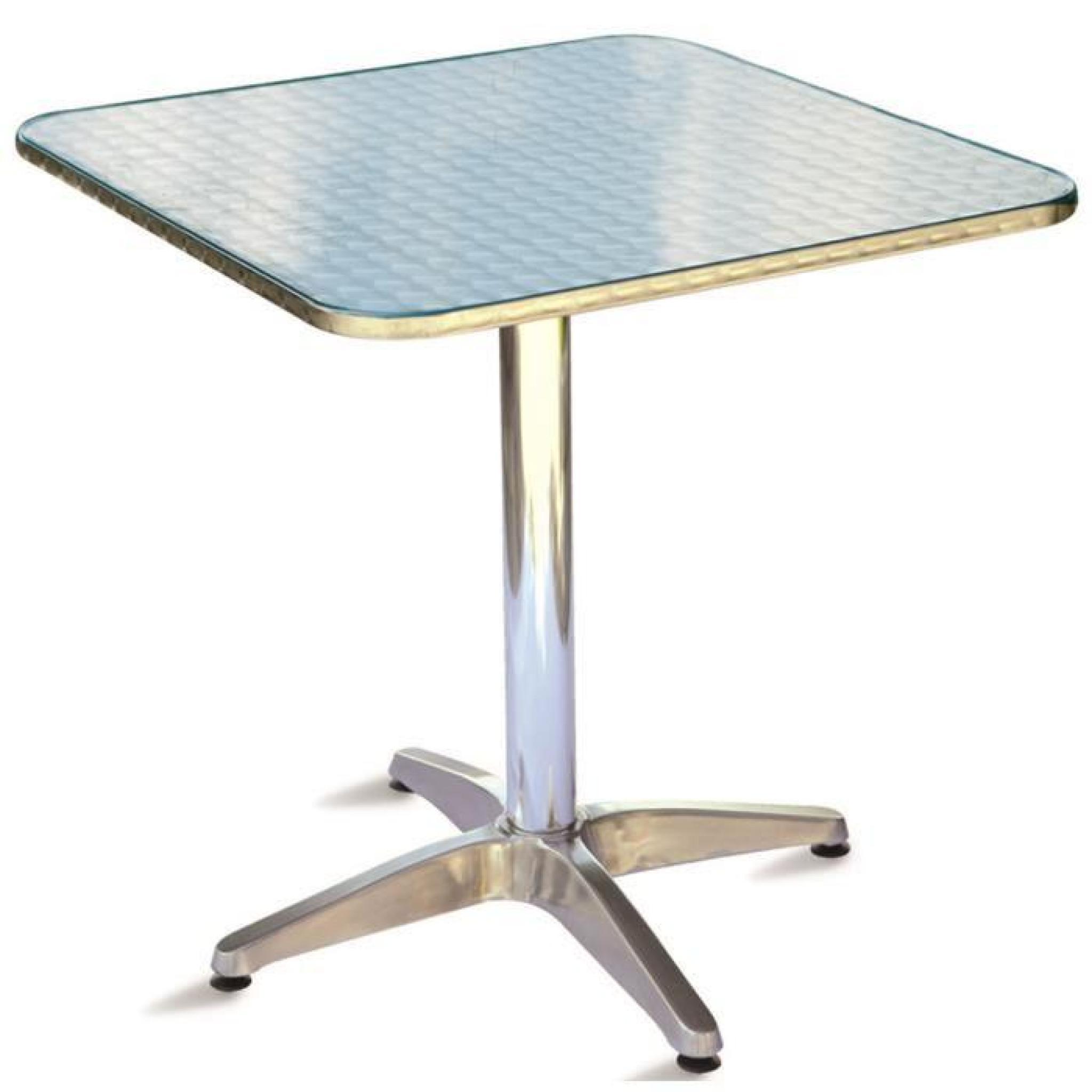 Table jardin en aluminium et plateau en acier forme carré - Dim : H 71 x L  70 x P 70 cm