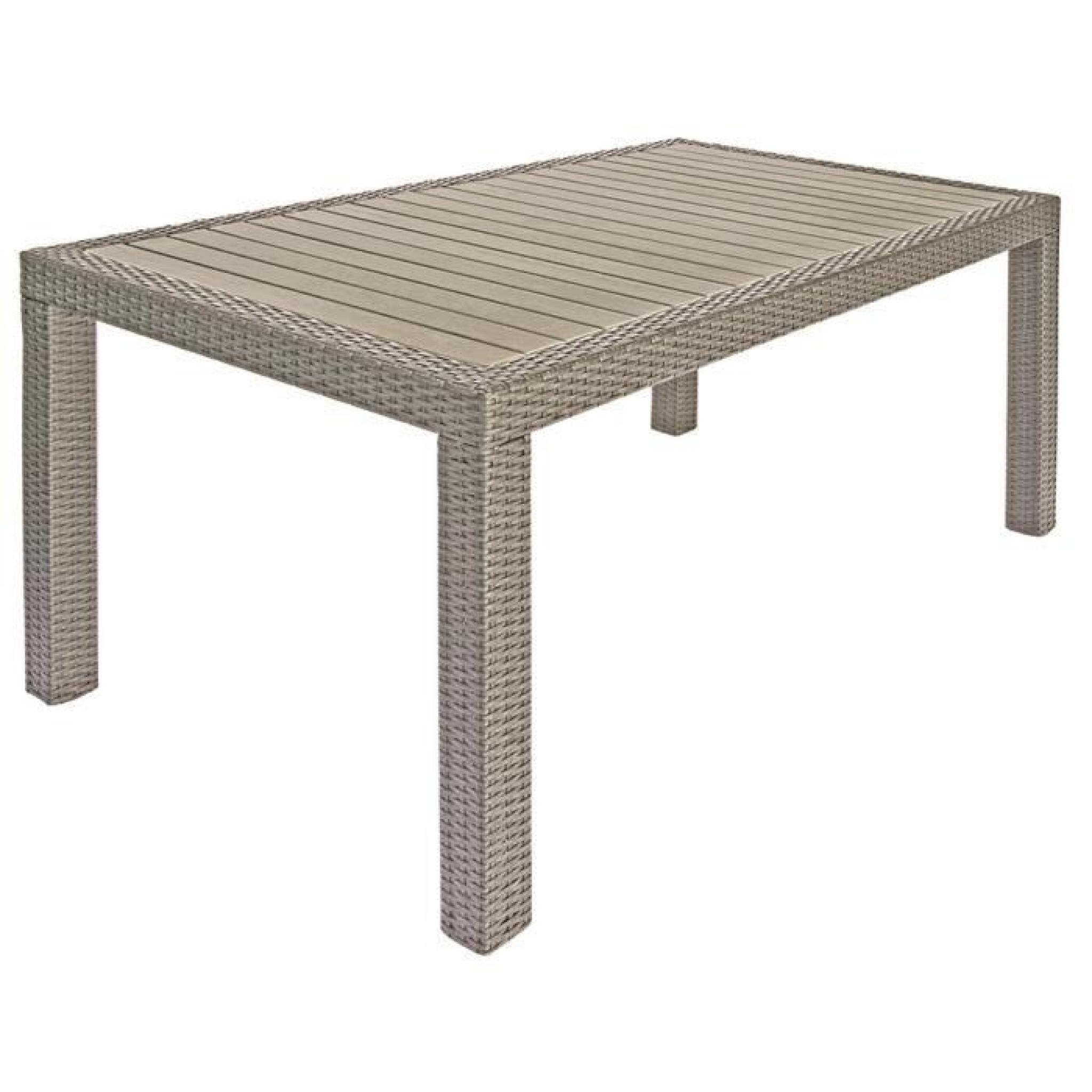 Table jardin en Tressage Wicker 7 mm coloris havane - Dim : H 74 x L 150 x P 90 cm