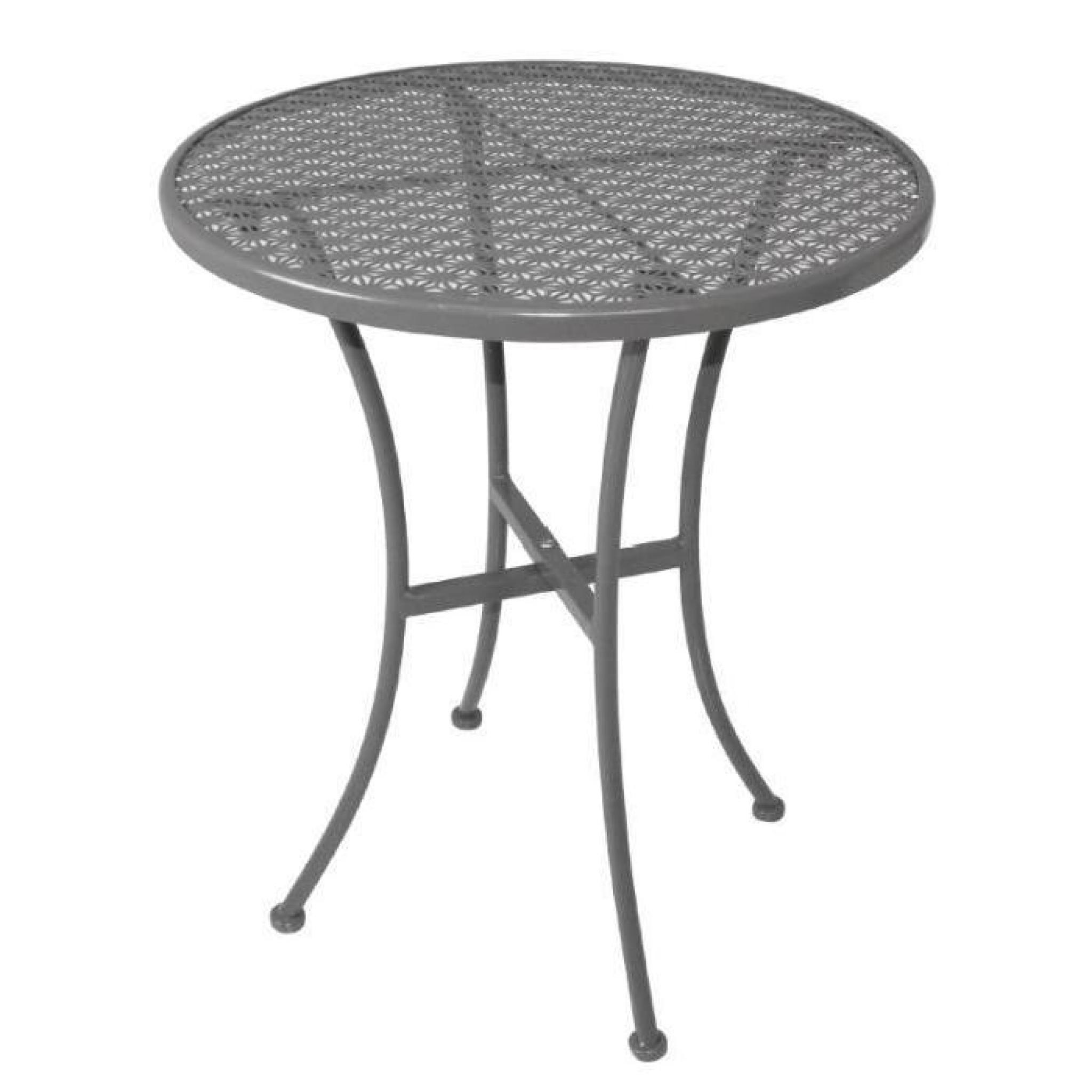Table moderne en acier de forme ronde coloris gris achat - Table ronde de jardin pas cher ...