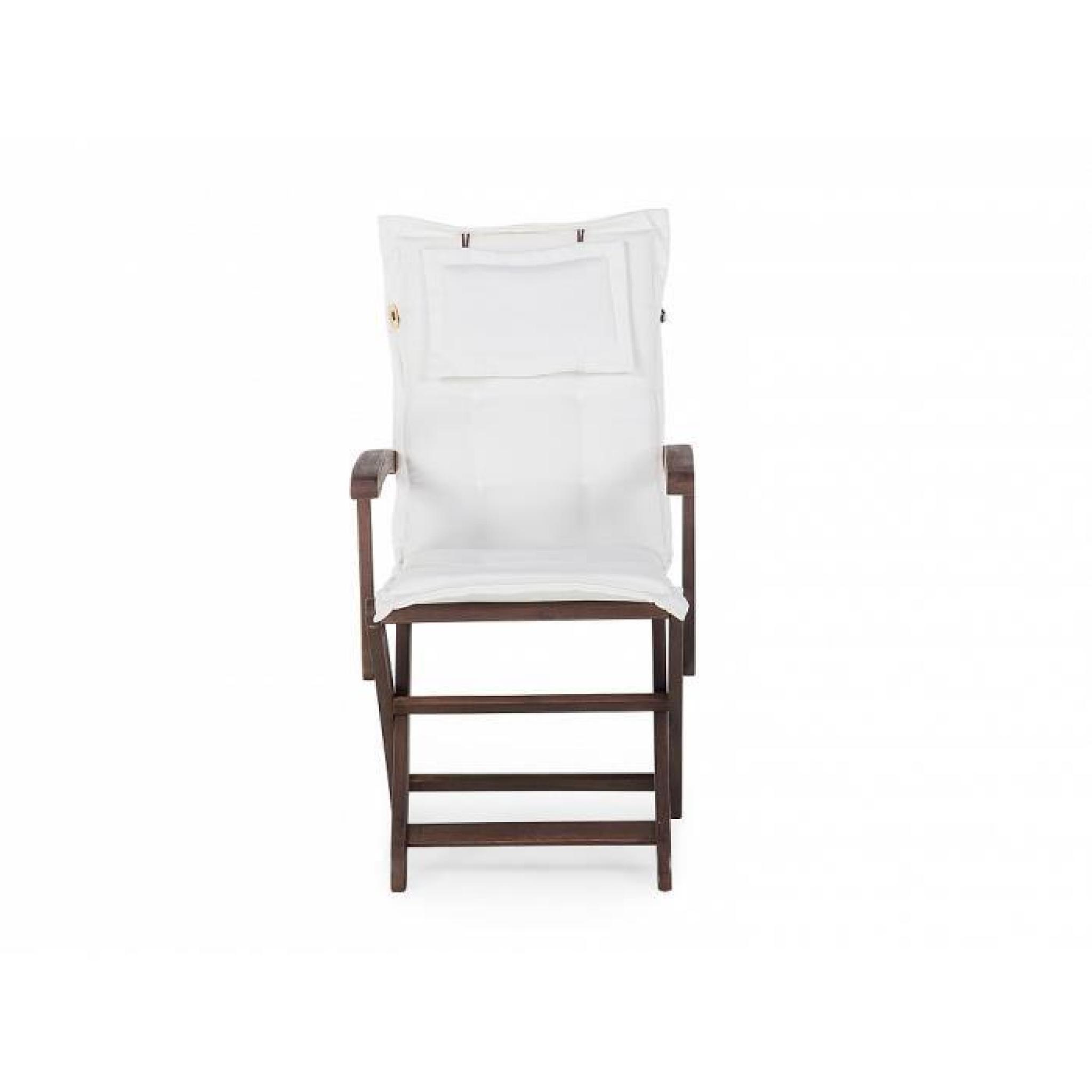 Table ovale et 6 chaises de jardin en en bois teinté - coussins ...