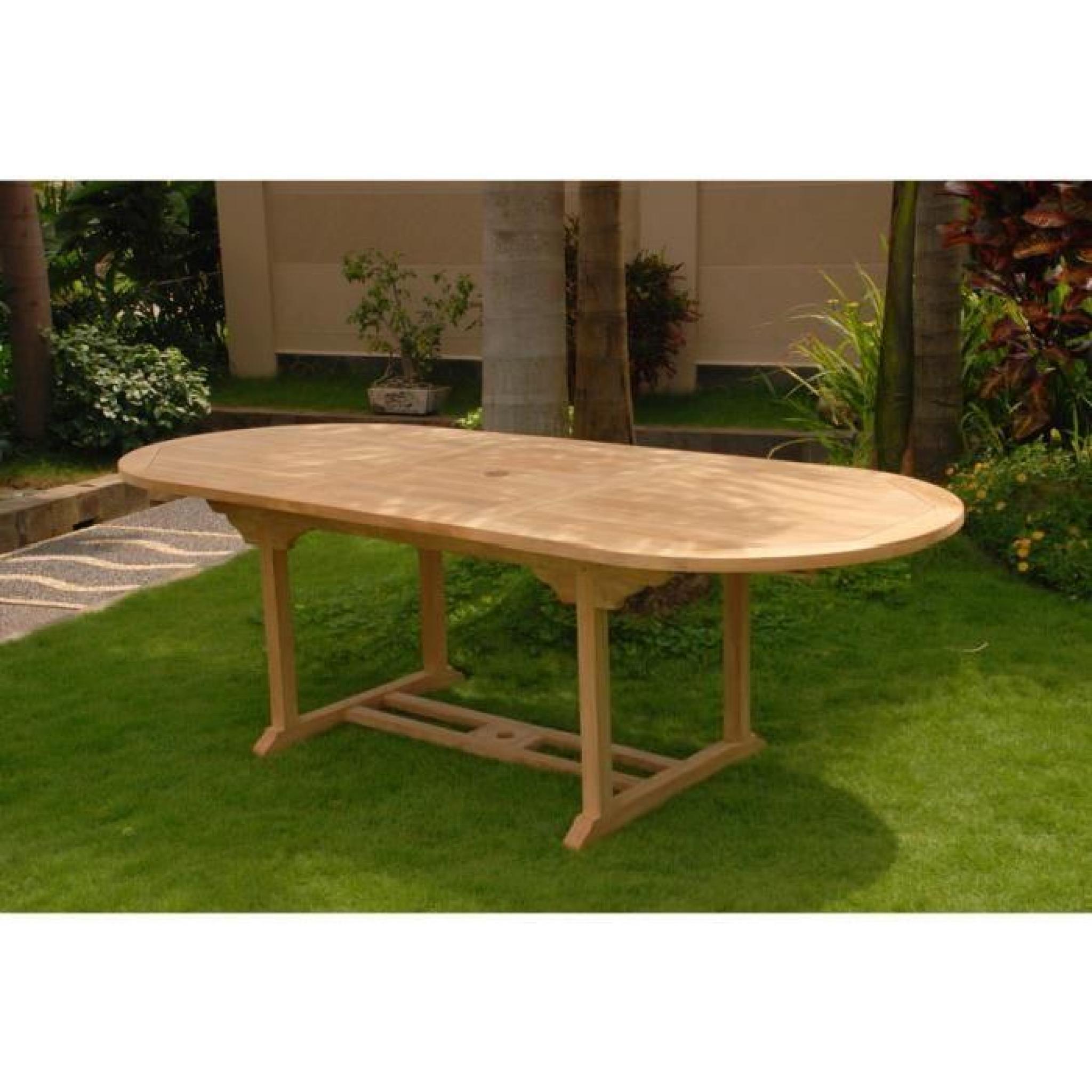 teck Table extensible et ovale bois robuste patio pour jardin qVpUzMSG