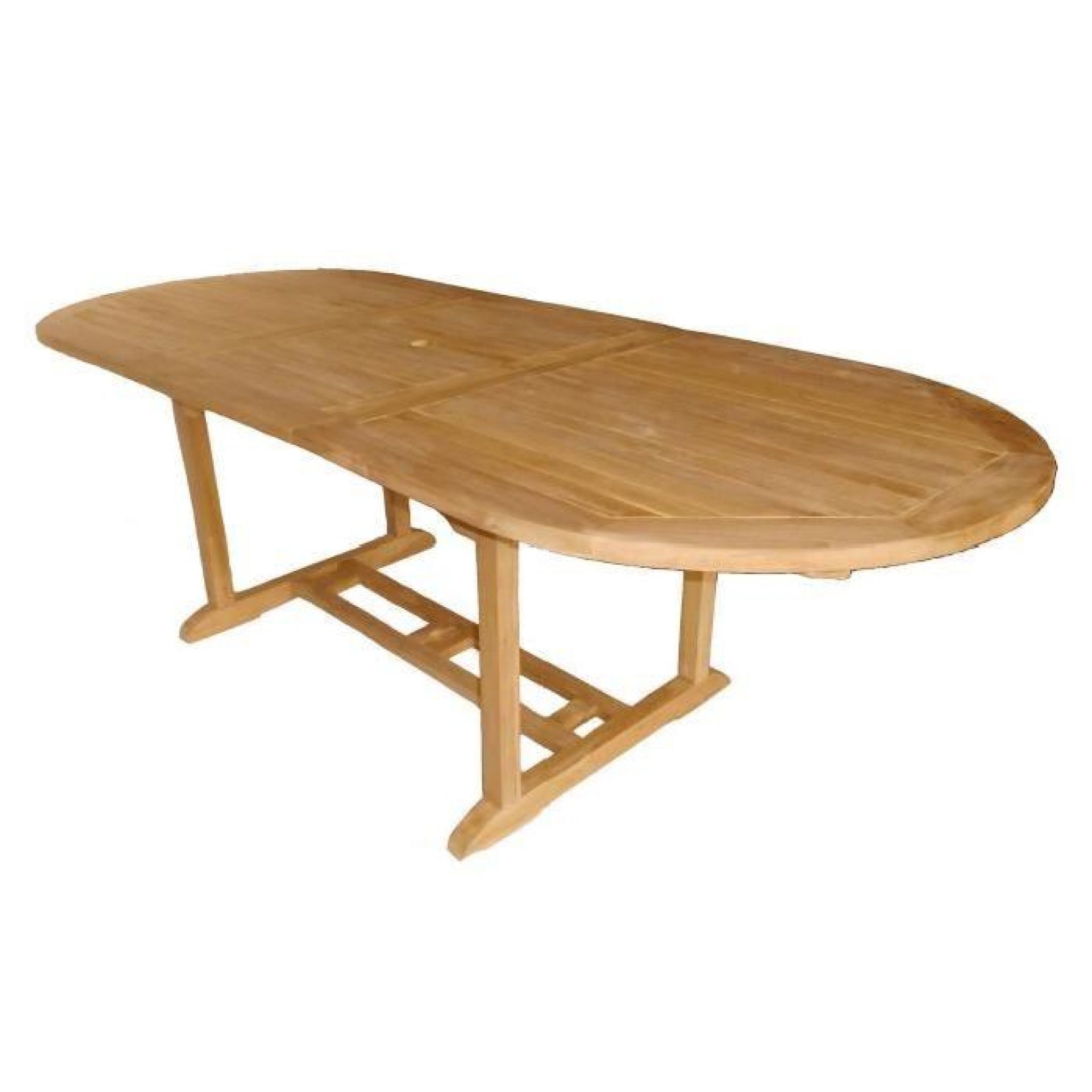 Table ovale extensible - bois teck robuste - pour patio et jardin