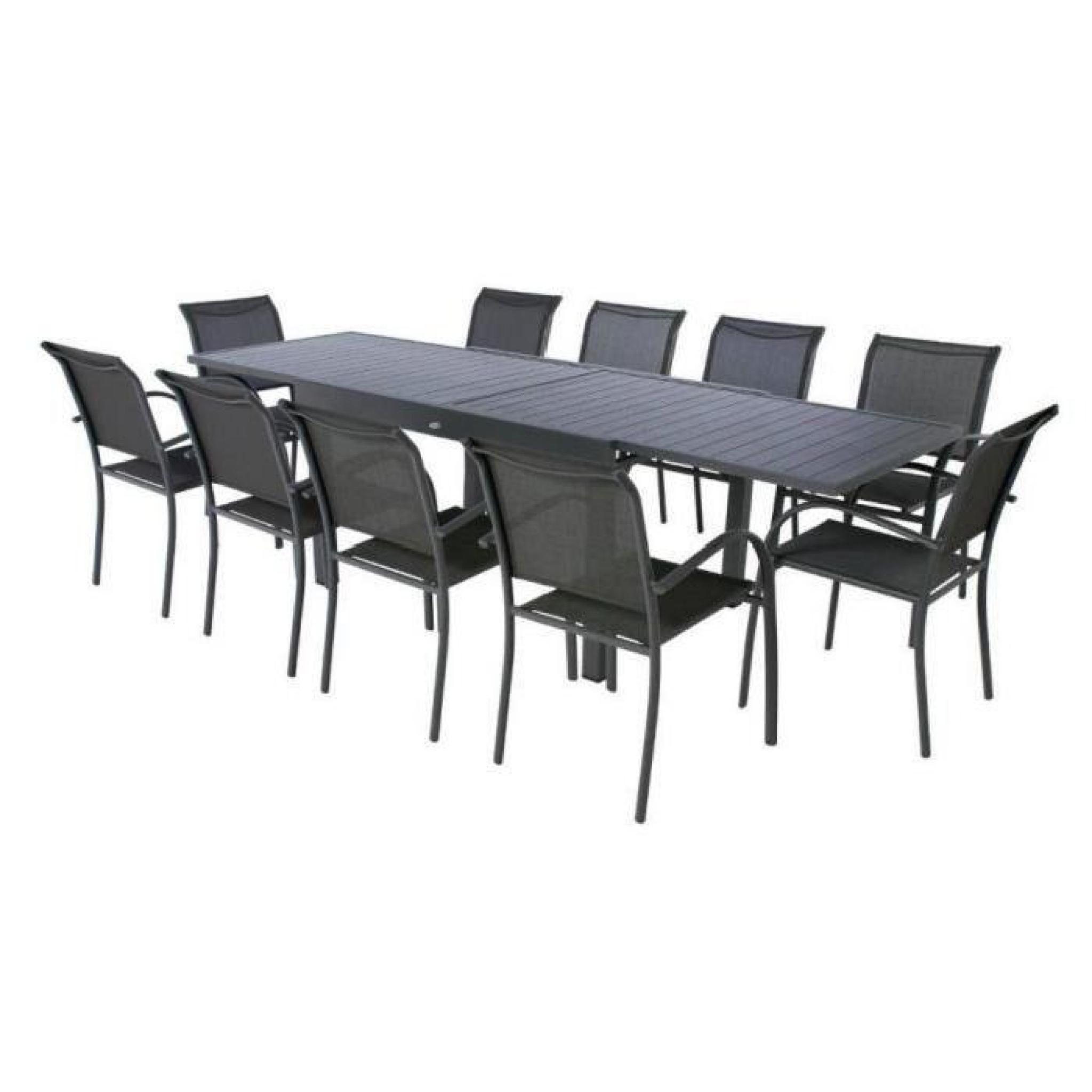 table piazza alu hesperide extensible 10 p graphite achat vente table de jardin extensible. Black Bedroom Furniture Sets. Home Design Ideas