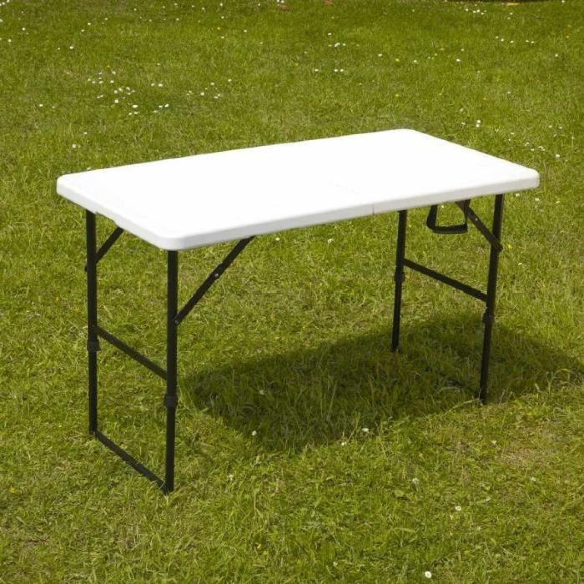 table pliante portable camping 122 cm achat vente table de jardin en plastique pas cher. Black Bedroom Furniture Sets. Home Design Ideas