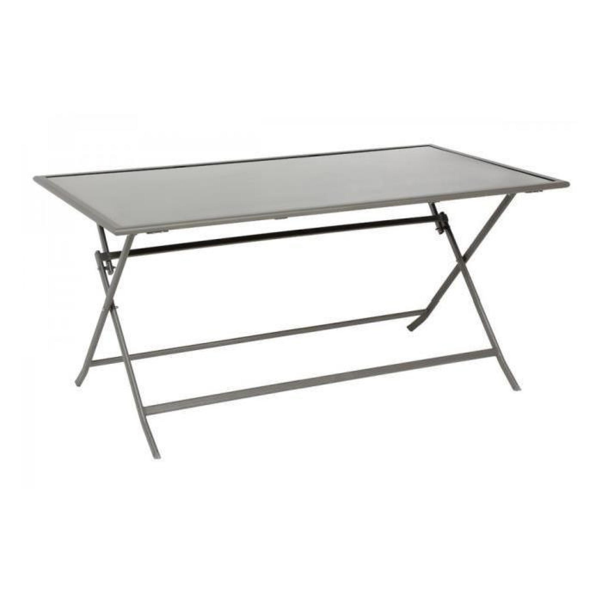 TABLE PLIANTE D\'EXTÉRIEUR RECTANGULAIRE FLEXIA 150 CM GRIS/SILVER MAT