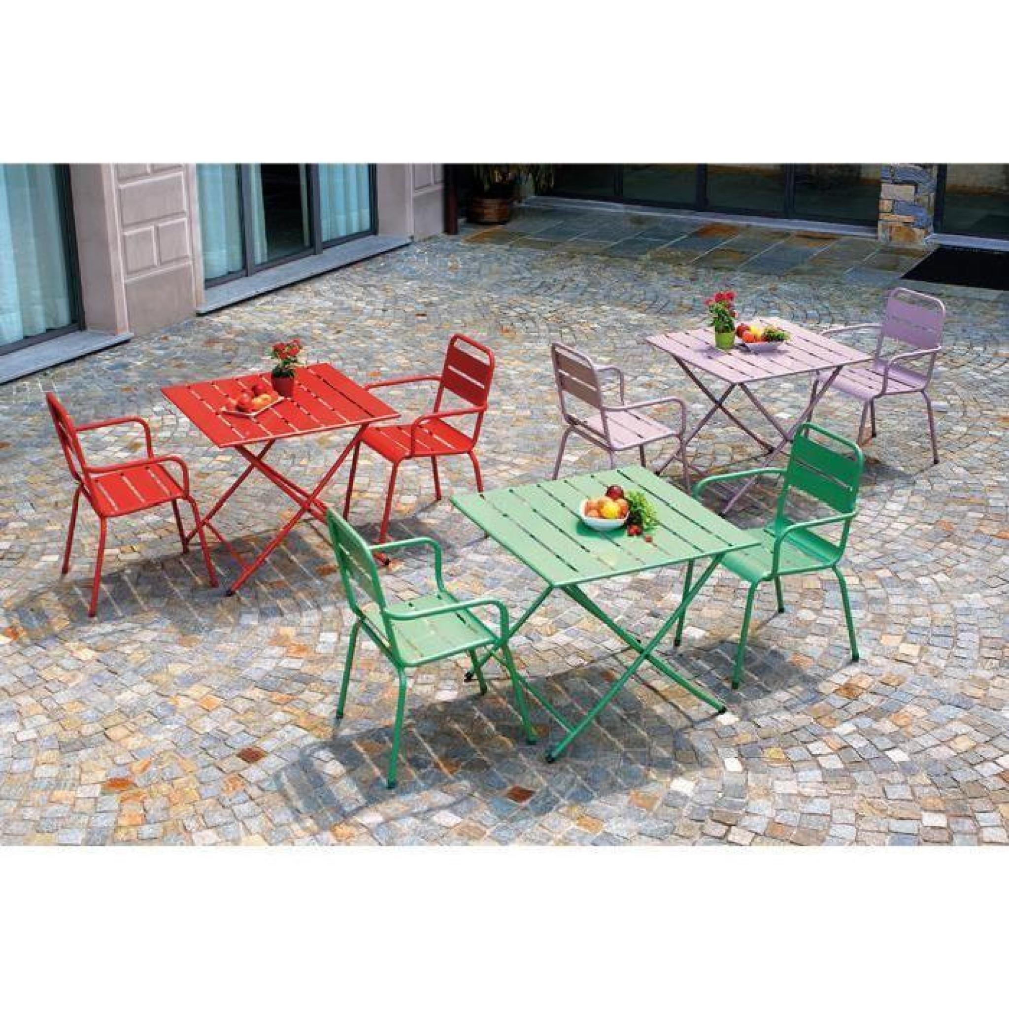 Table pliante de jardin en fer coloris lavande - Dim : H 71 x L 80 x P 80 cm