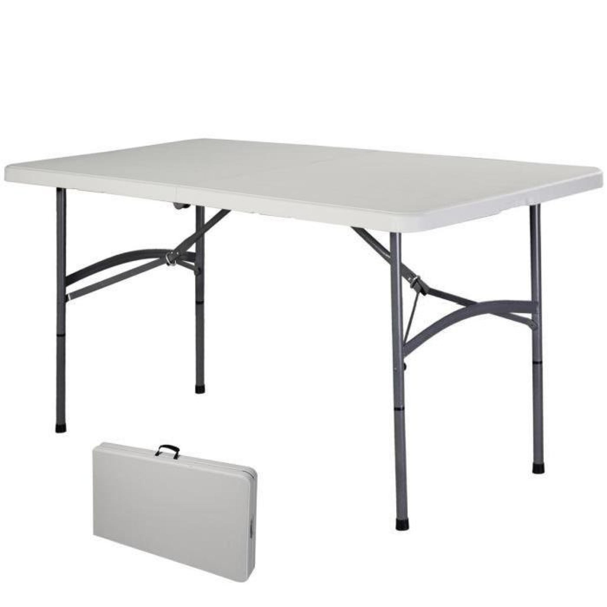Table pliante portable table de camping valise jardin 122cm
