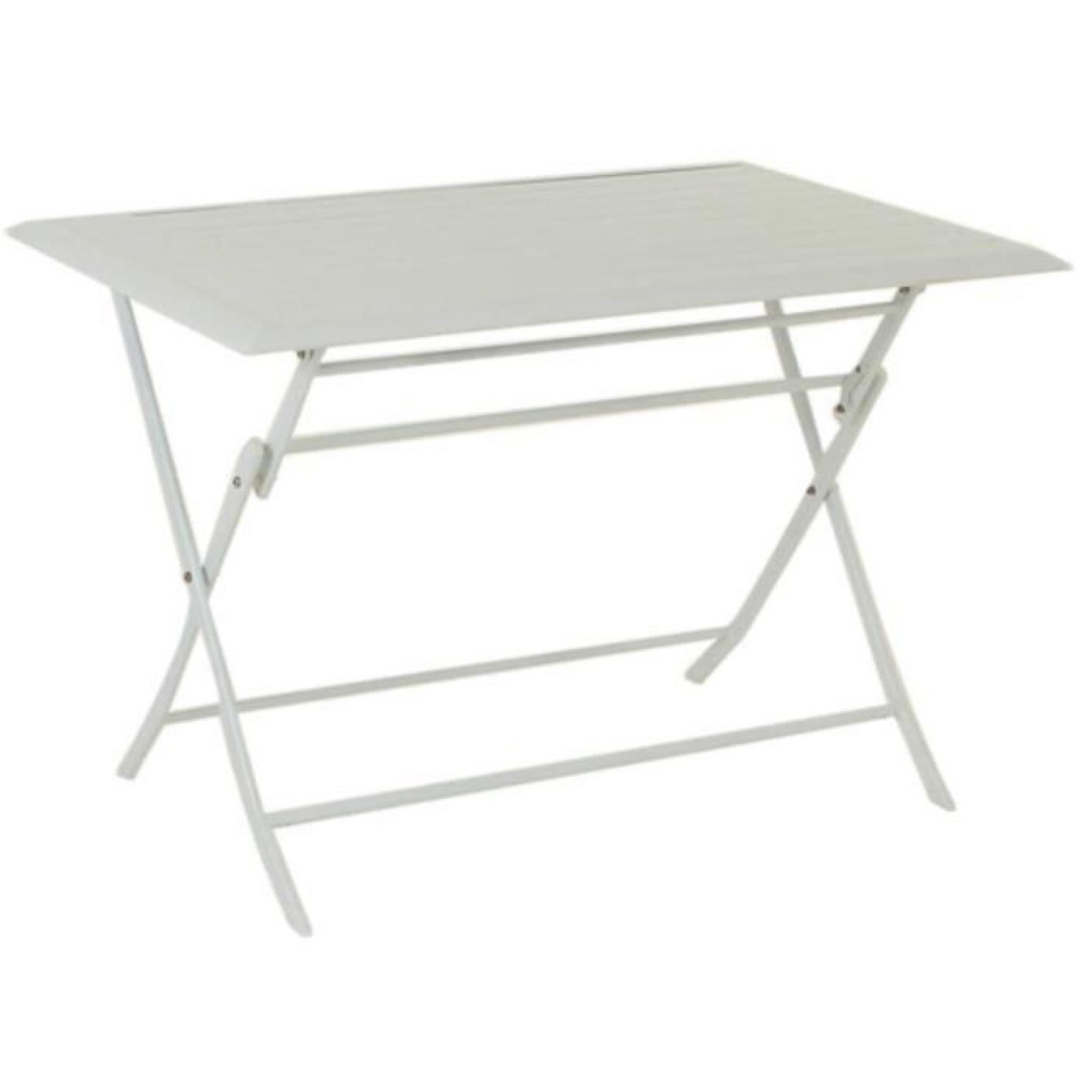 Table pliante rectangulaire en aluminium coloris blanc - Dim : L 110 x P 71  x H 71 cm