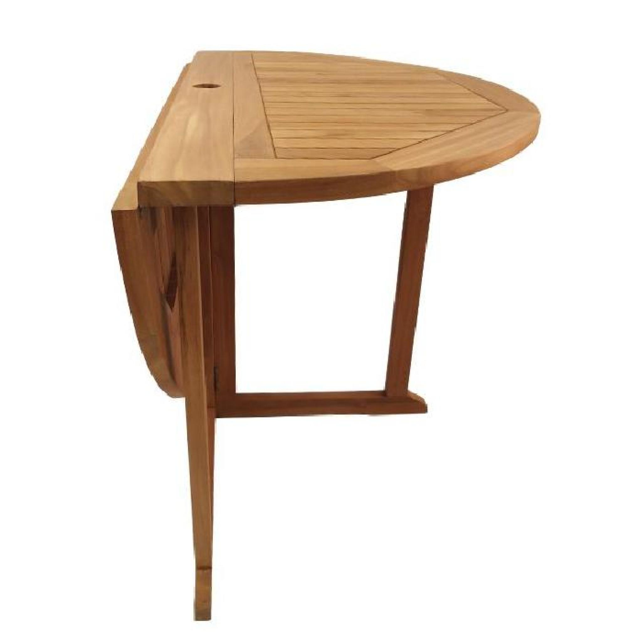 Table pliante ronde en teck Ecograde Domingue ø 120 cm