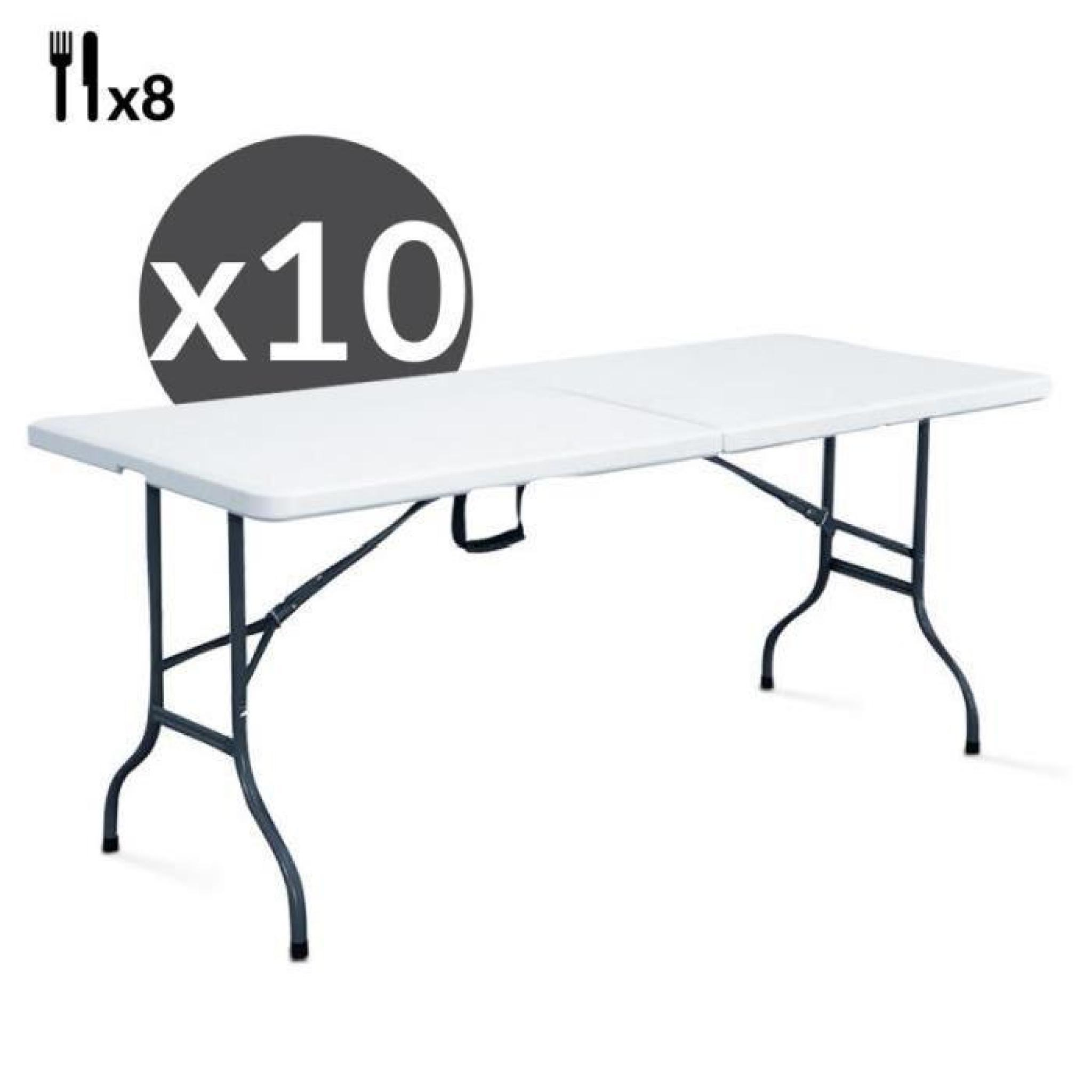 Table pliante traiteur 180 cm Lot de 10