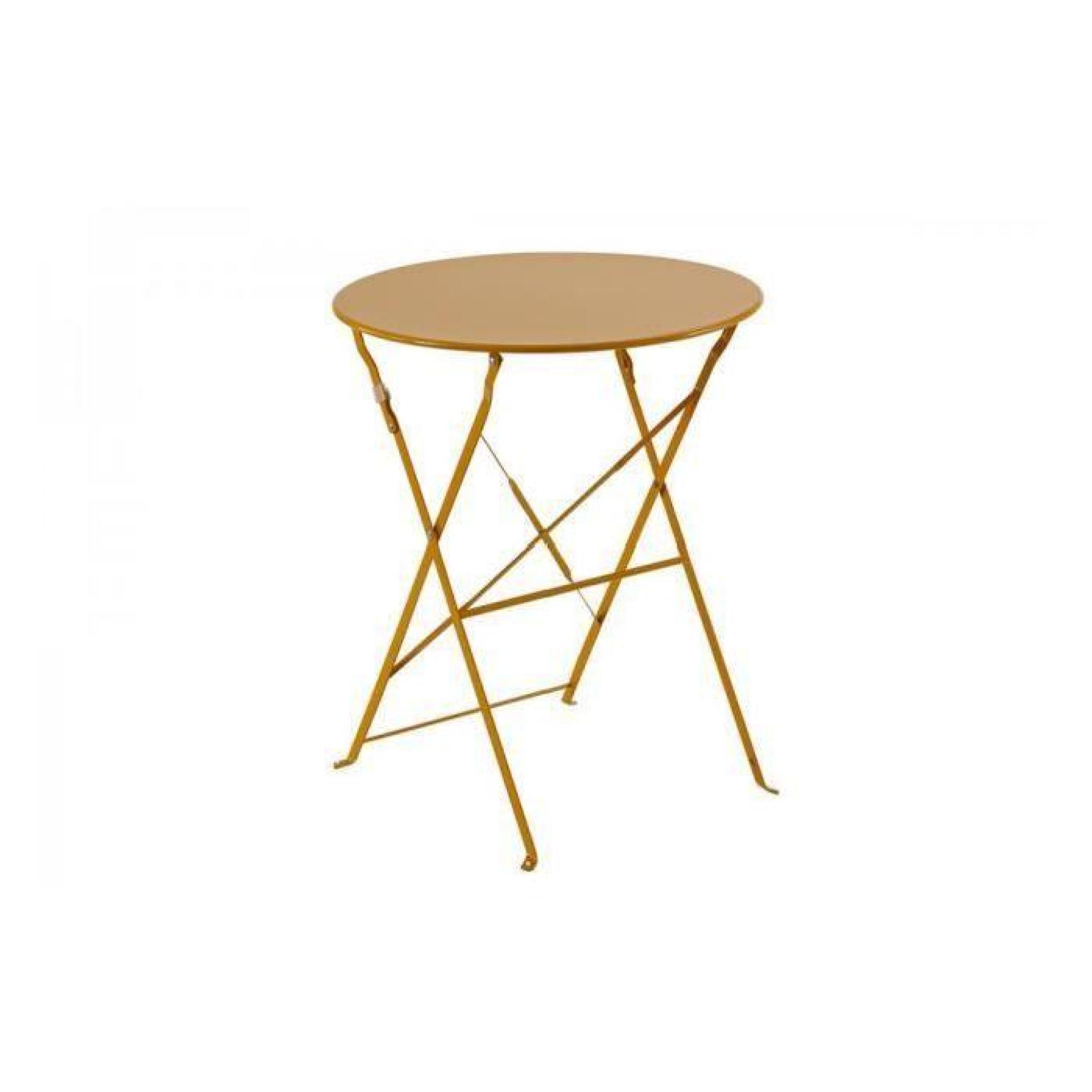 TABLE RONDE 60CM PLIANTE CAMARGUE HESPERIDE ORANGE - Achat/Vente ...
