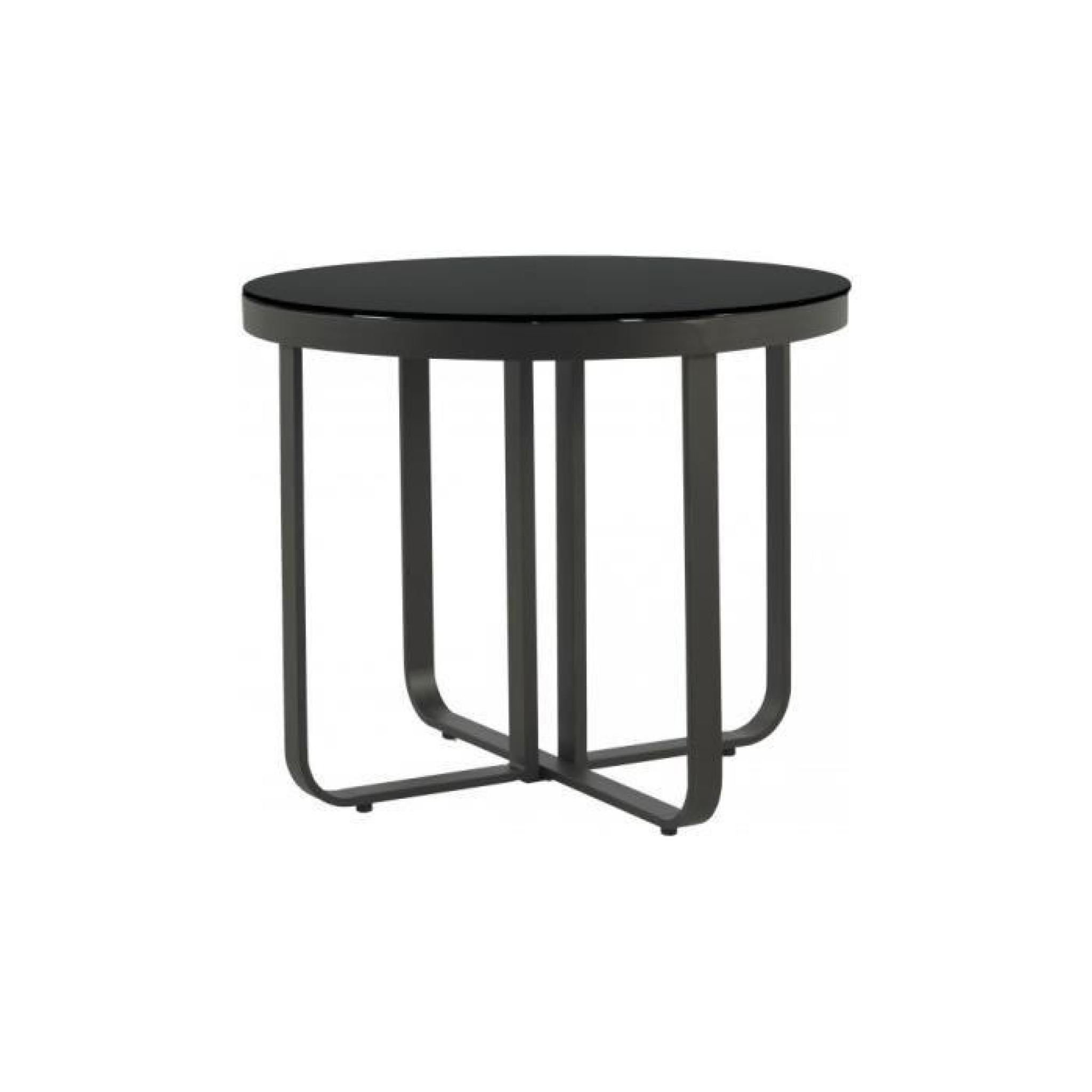 Table ronde aluminium gris plateau verre trempé noir Ø150 - Achat ...