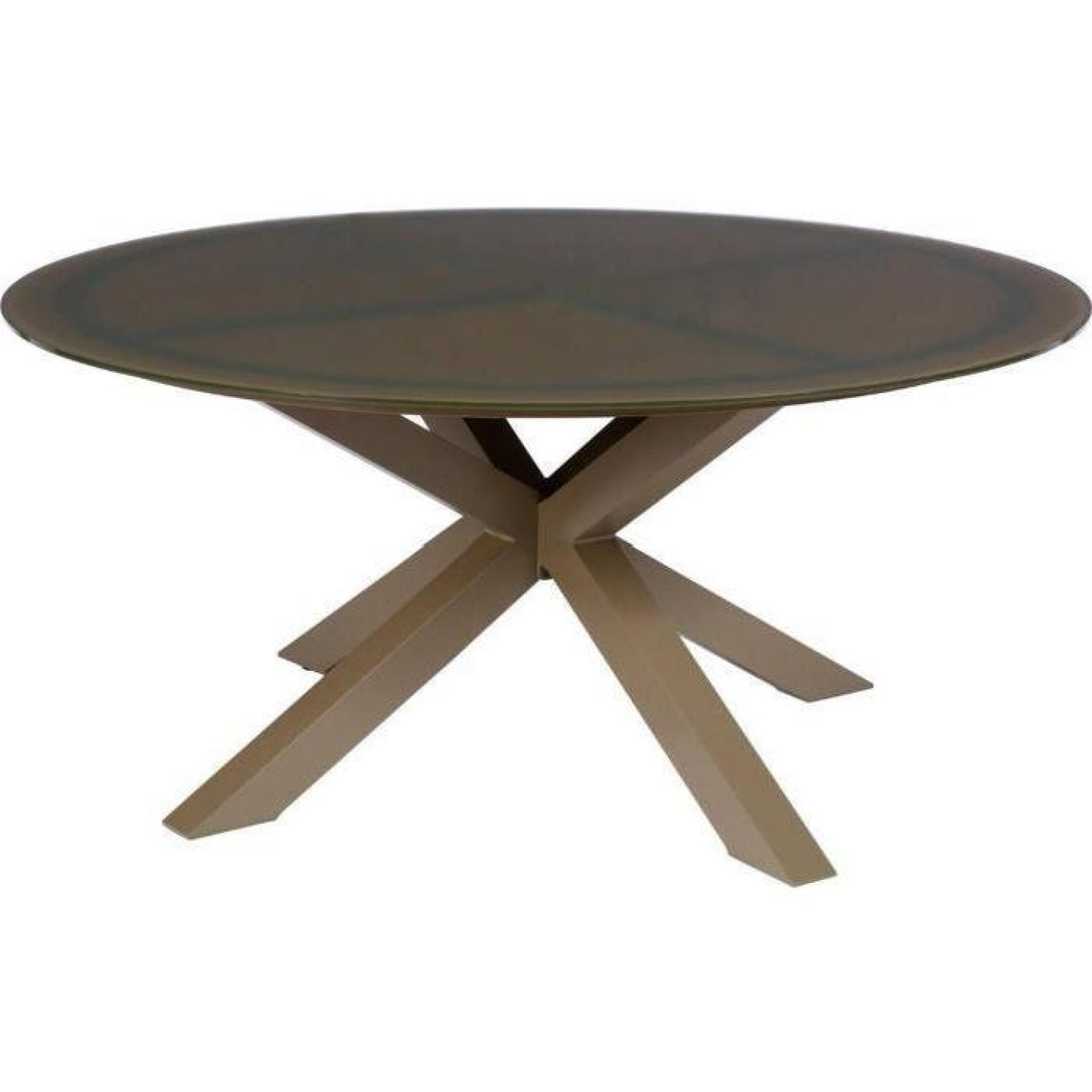 Table ronde de jardin en Aluminium coloris taupe - Dim : D 7 x H 7cm