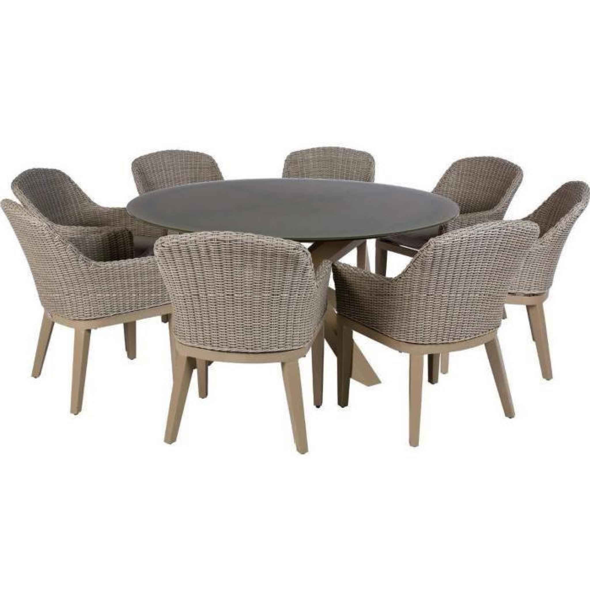 Table ronde de jardin en Aluminium coloris taupe - Dim : D 160 x H 75cm