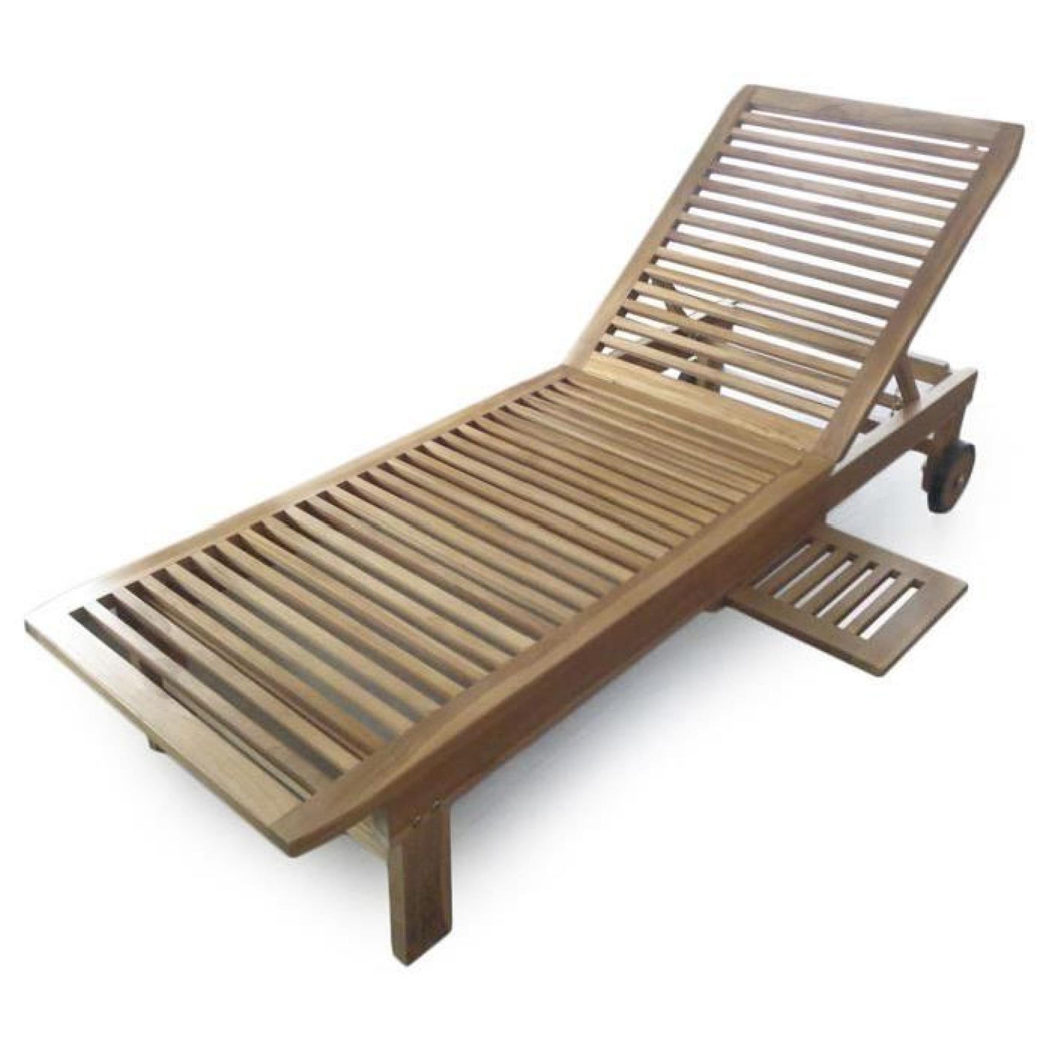 Talassa bain de soleil roulettes et tablette amovible en teck massif natu - Bain de soleil teck pas cher ...