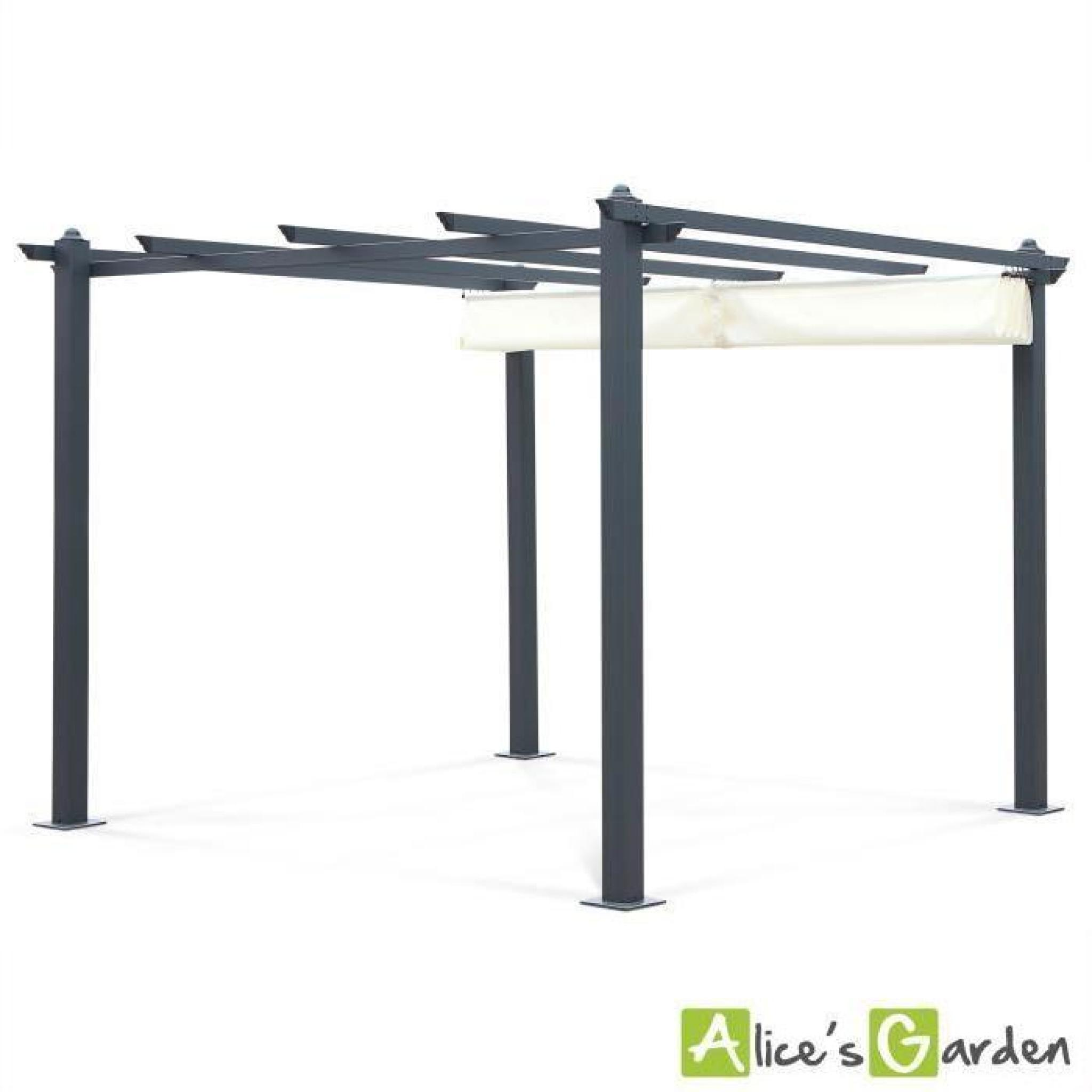 tente de jardin pergola aluminium 3x3m condate cru toile r tractable toil. Black Bedroom Furniture Sets. Home Design Ideas