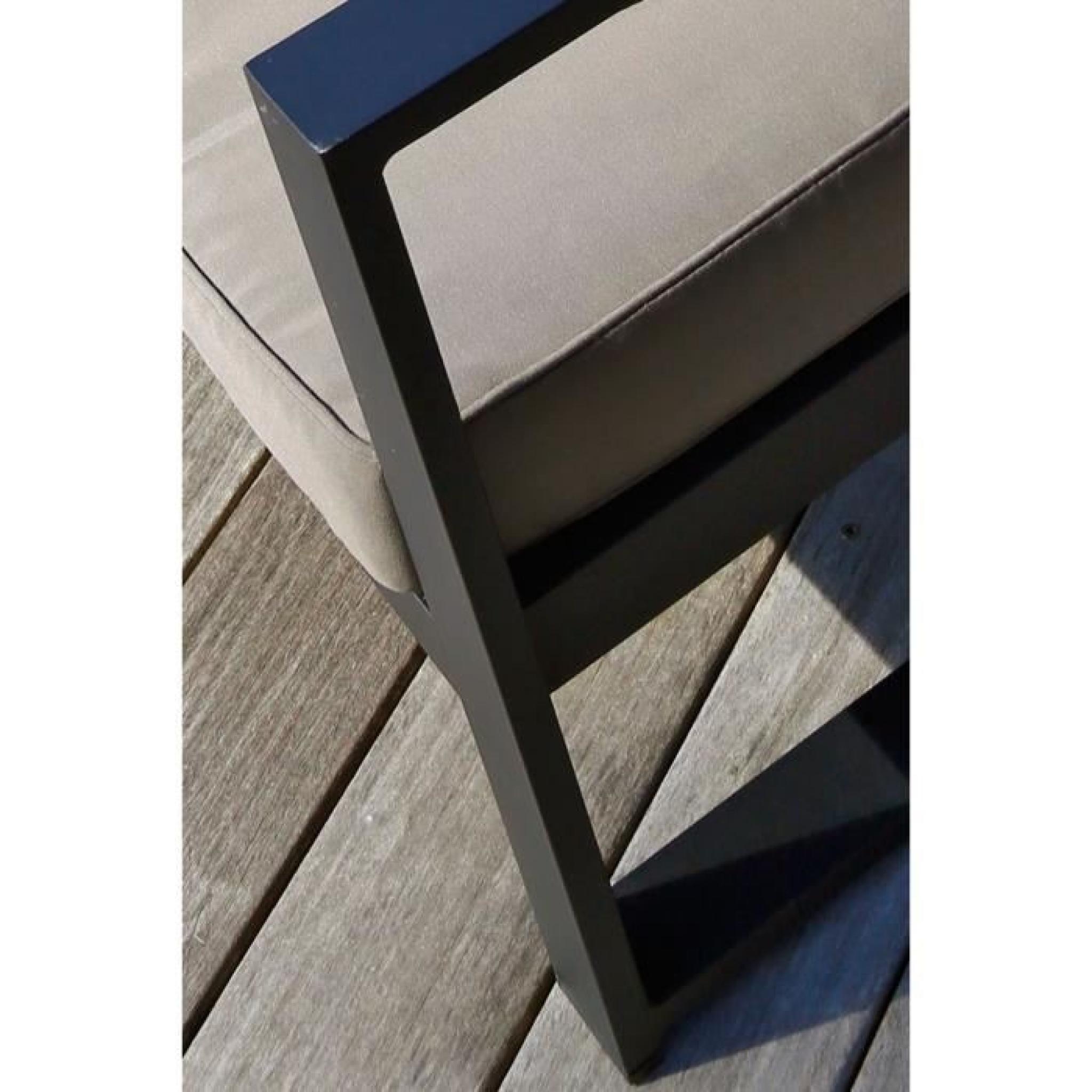 TESSA Salon de jardin 5 places aluminium peint noir - Achat/Vente ...