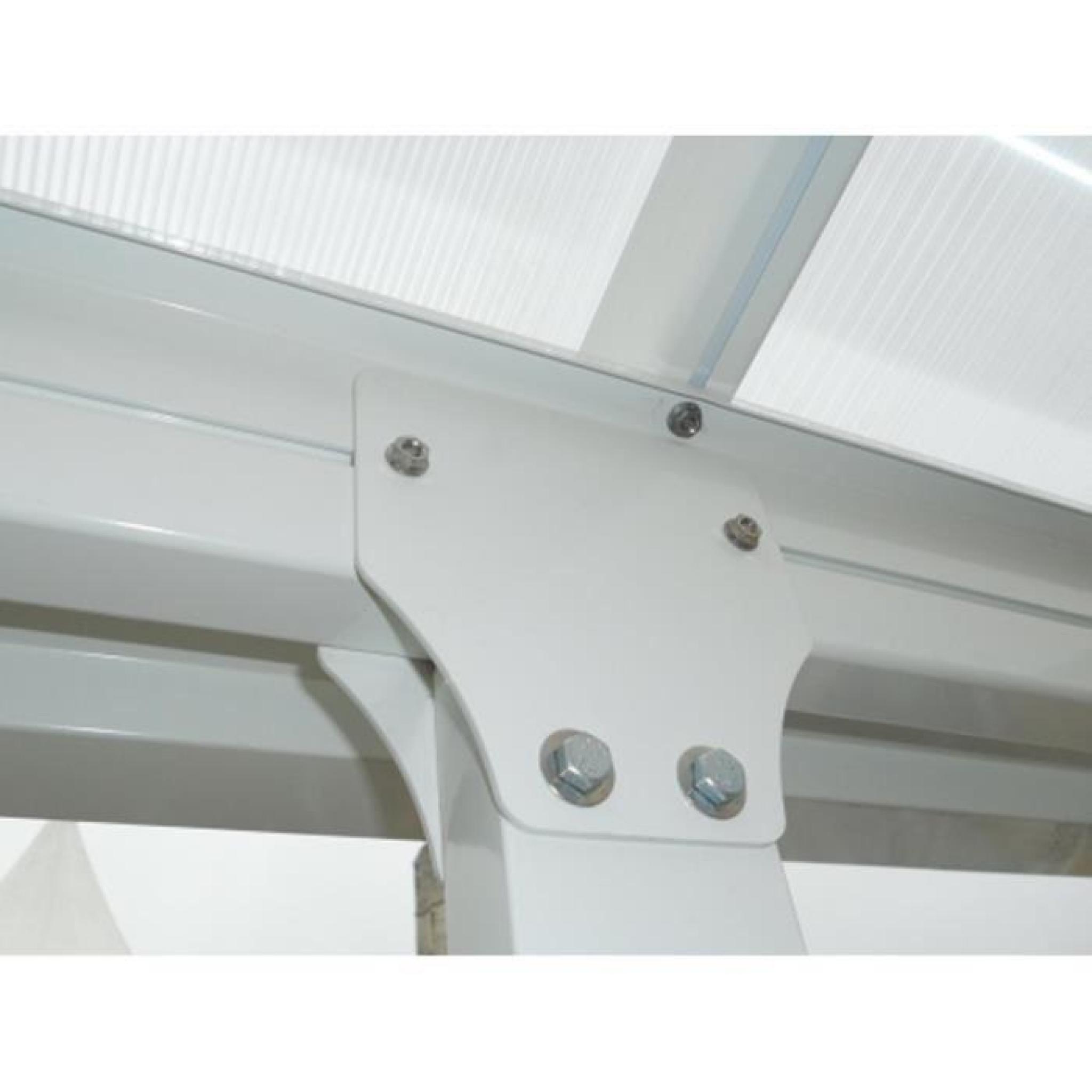 toit de terrasse en alu blanc et polycarbonate 3 x 8 m. Black Bedroom Furniture Sets. Home Design Ideas