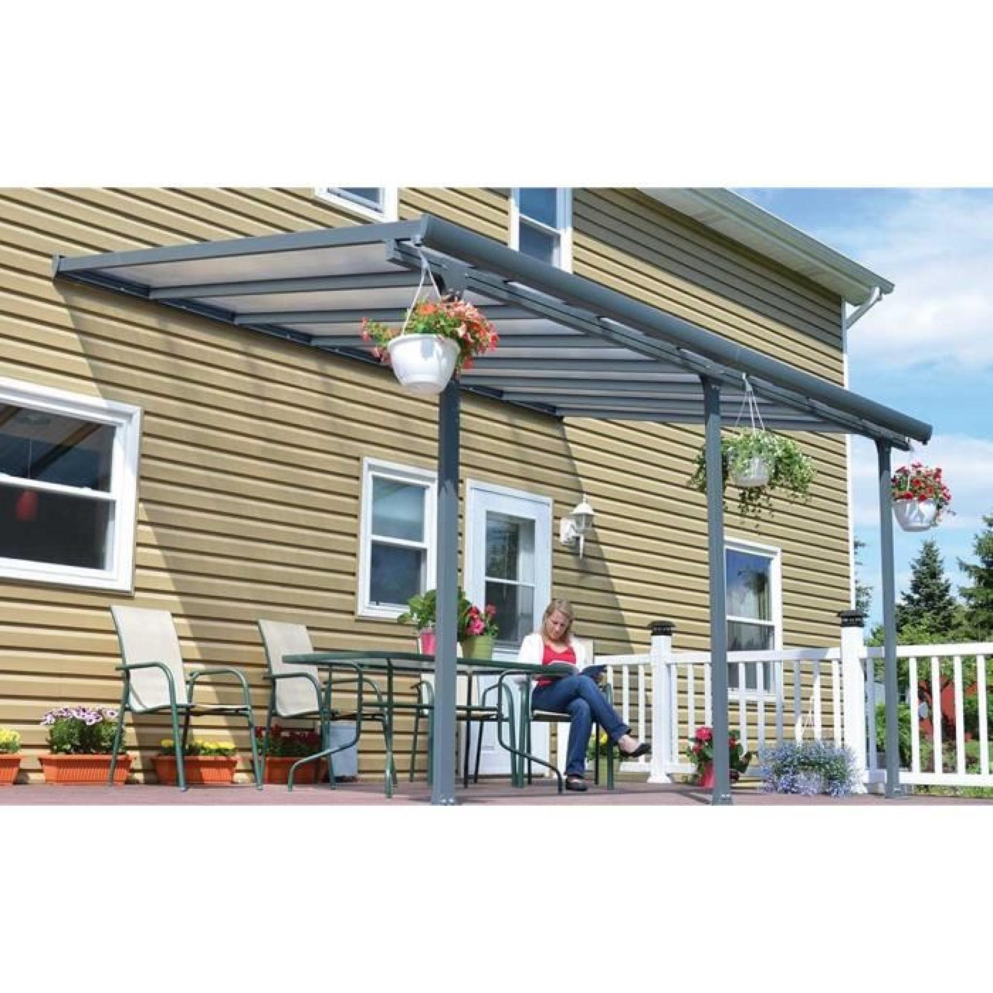toit de terrasse en alu gris et polycarbonate 3 x 7 m dim. Black Bedroom Furniture Sets. Home Design Ideas