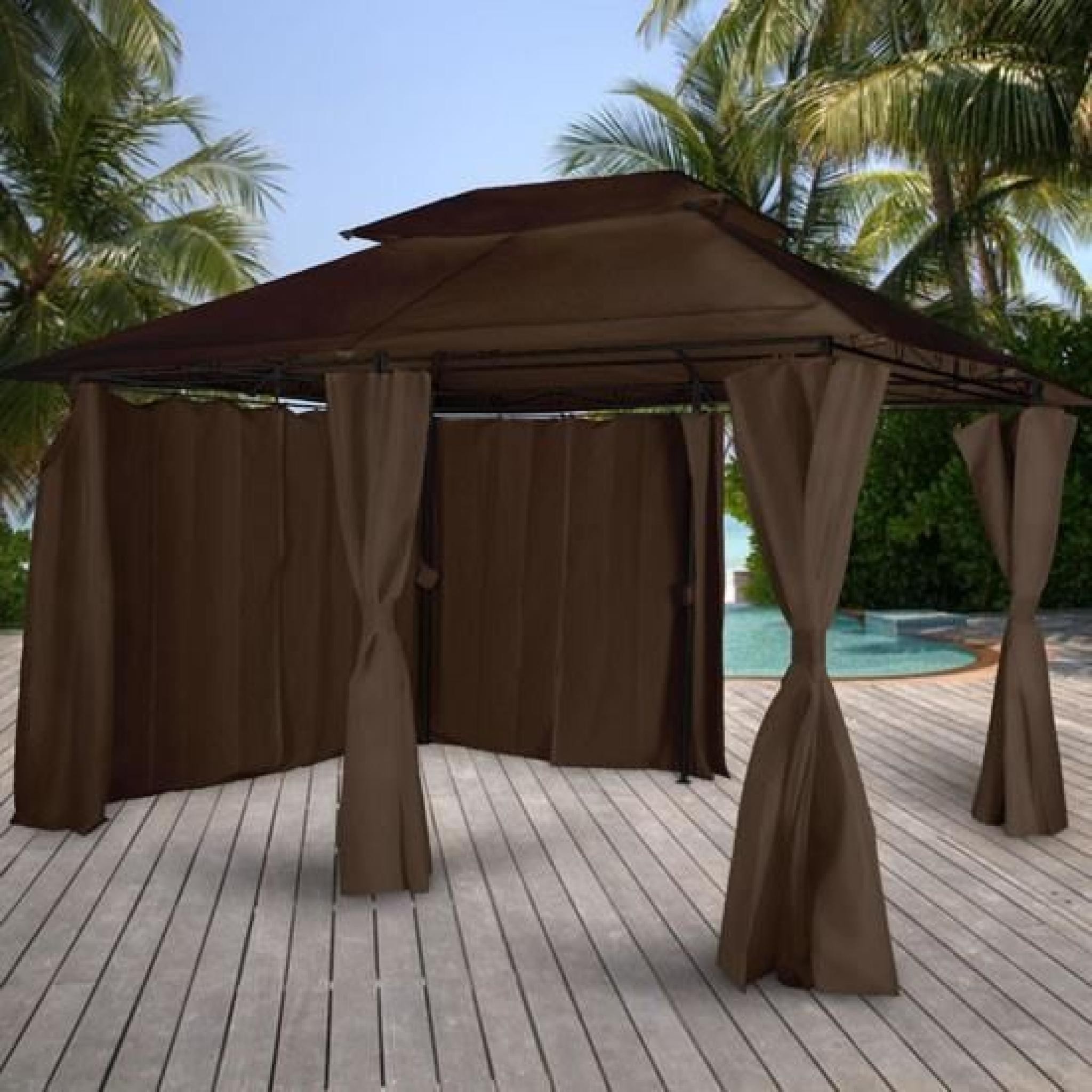 tonnelle de jardin en tissu brun 4 x 3 m achat vente tonnelle en acier pas cher. Black Bedroom Furniture Sets. Home Design Ideas