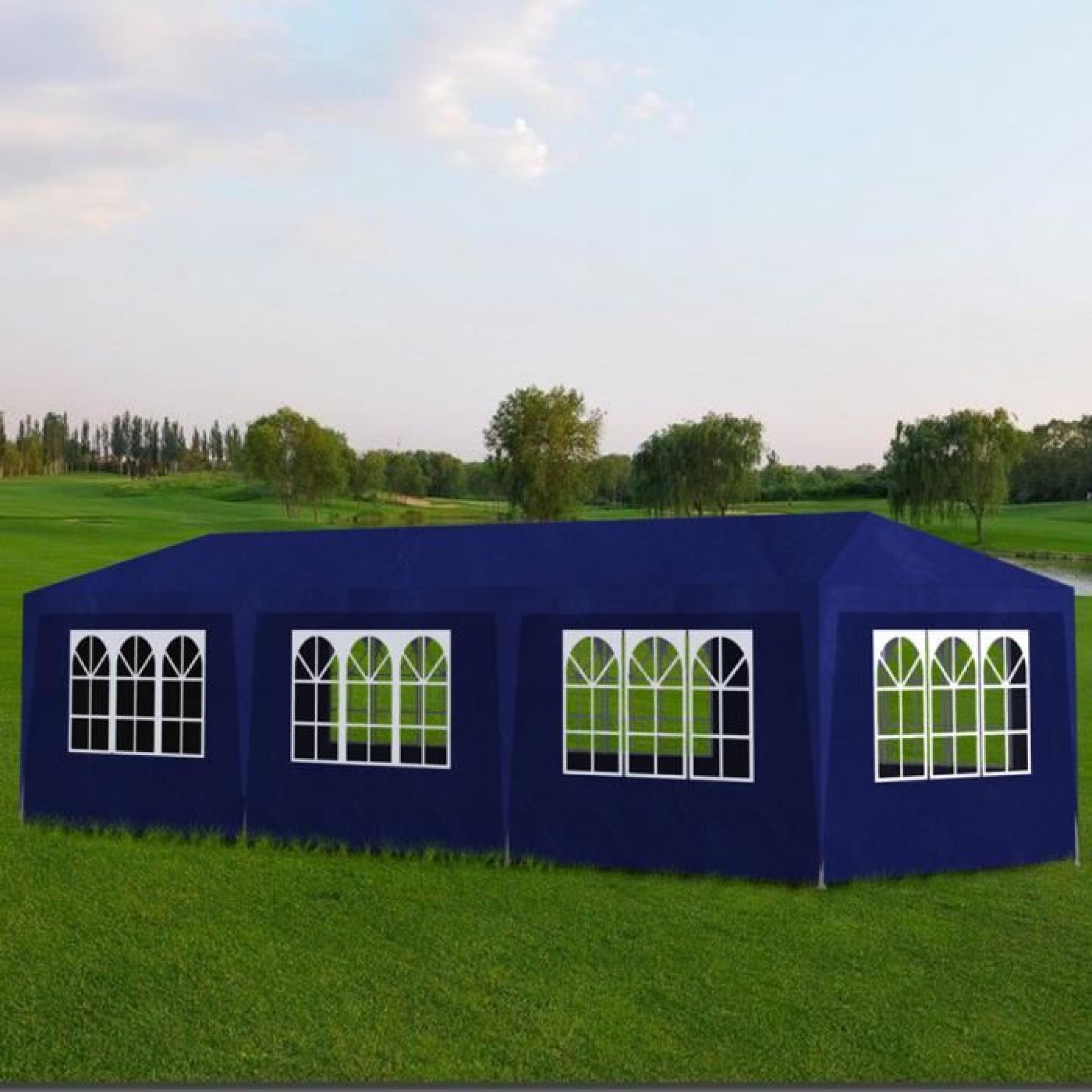 tonnelle de jardin tente de r ception 8 murs bleu 9 x 3 x 2 5 m achat vente tonnelle en acier. Black Bedroom Furniture Sets. Home Design Ideas