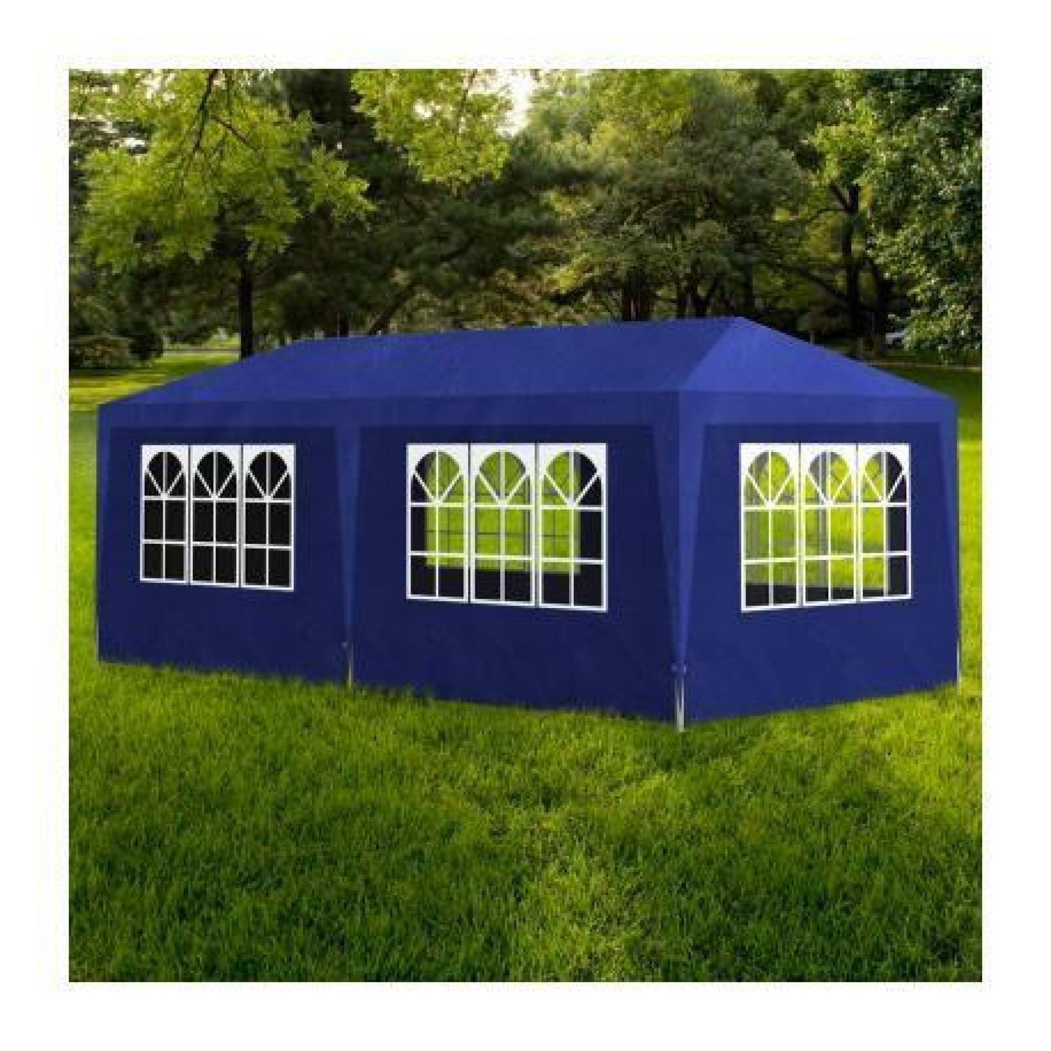 tonnelle pavillon de jardin bleu 3x6m achat vente tonnelle en acier pas cher. Black Bedroom Furniture Sets. Home Design Ideas