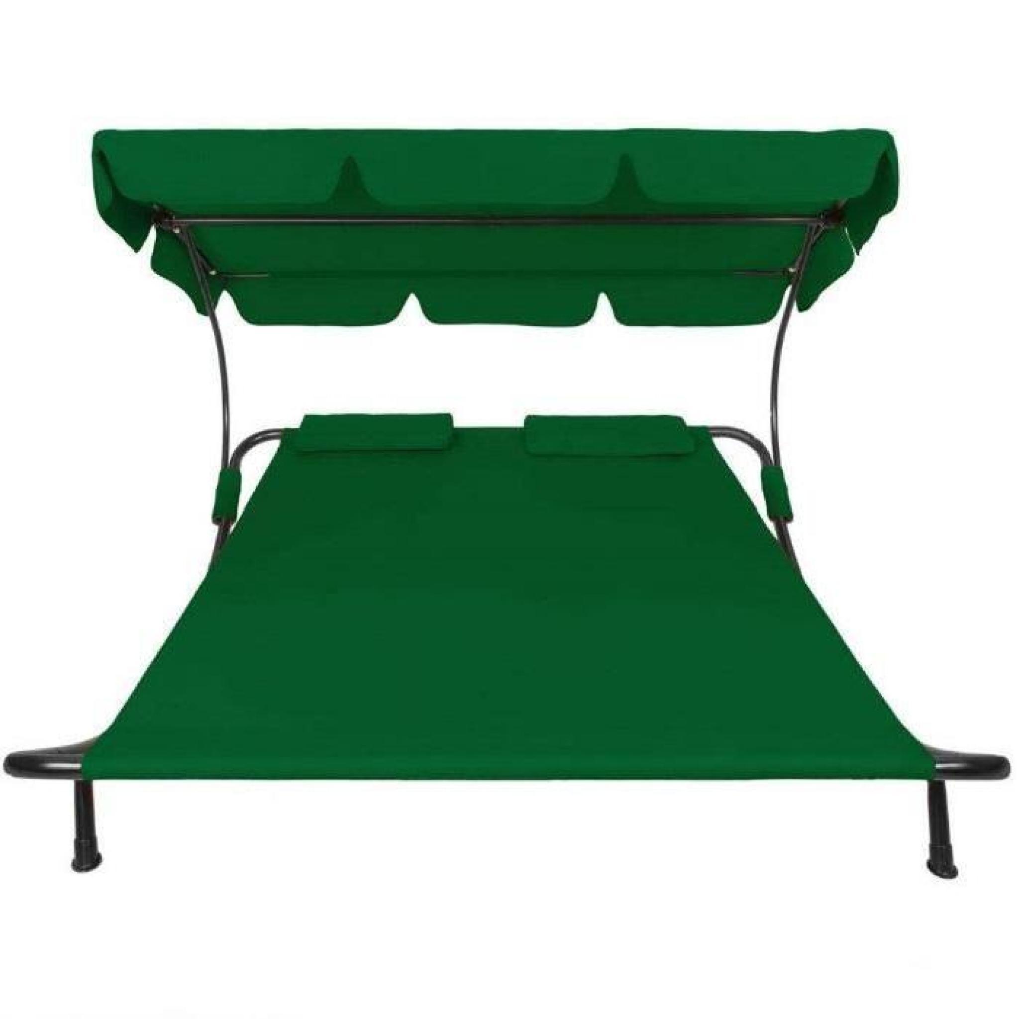Transat double avec pare soleil chaise longue achat - Chaise longue de jardin pas cher ...