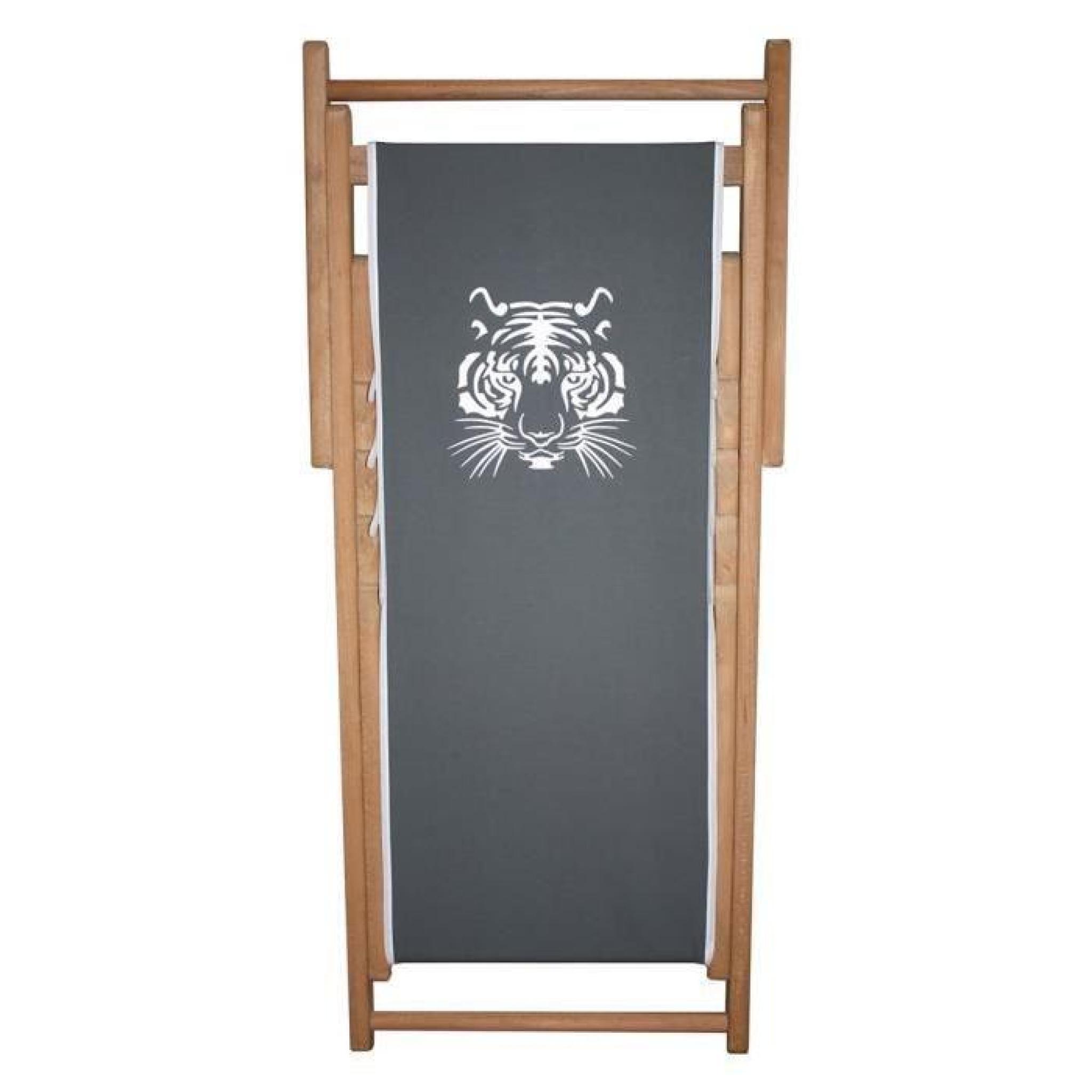 transat enfant en bois et toile coton gris anthracite. Black Bedroom Furniture Sets. Home Design Ideas