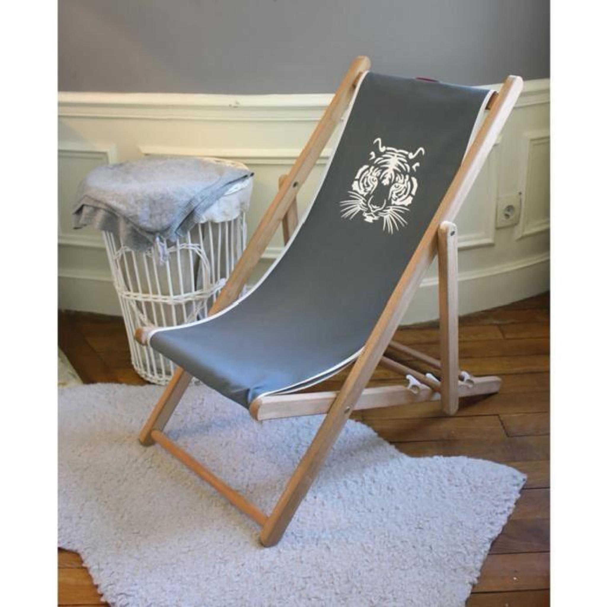 transat enfant en bois et toile coton gris anthracite achat vente transat de jardin pas cher. Black Bedroom Furniture Sets. Home Design Ideas