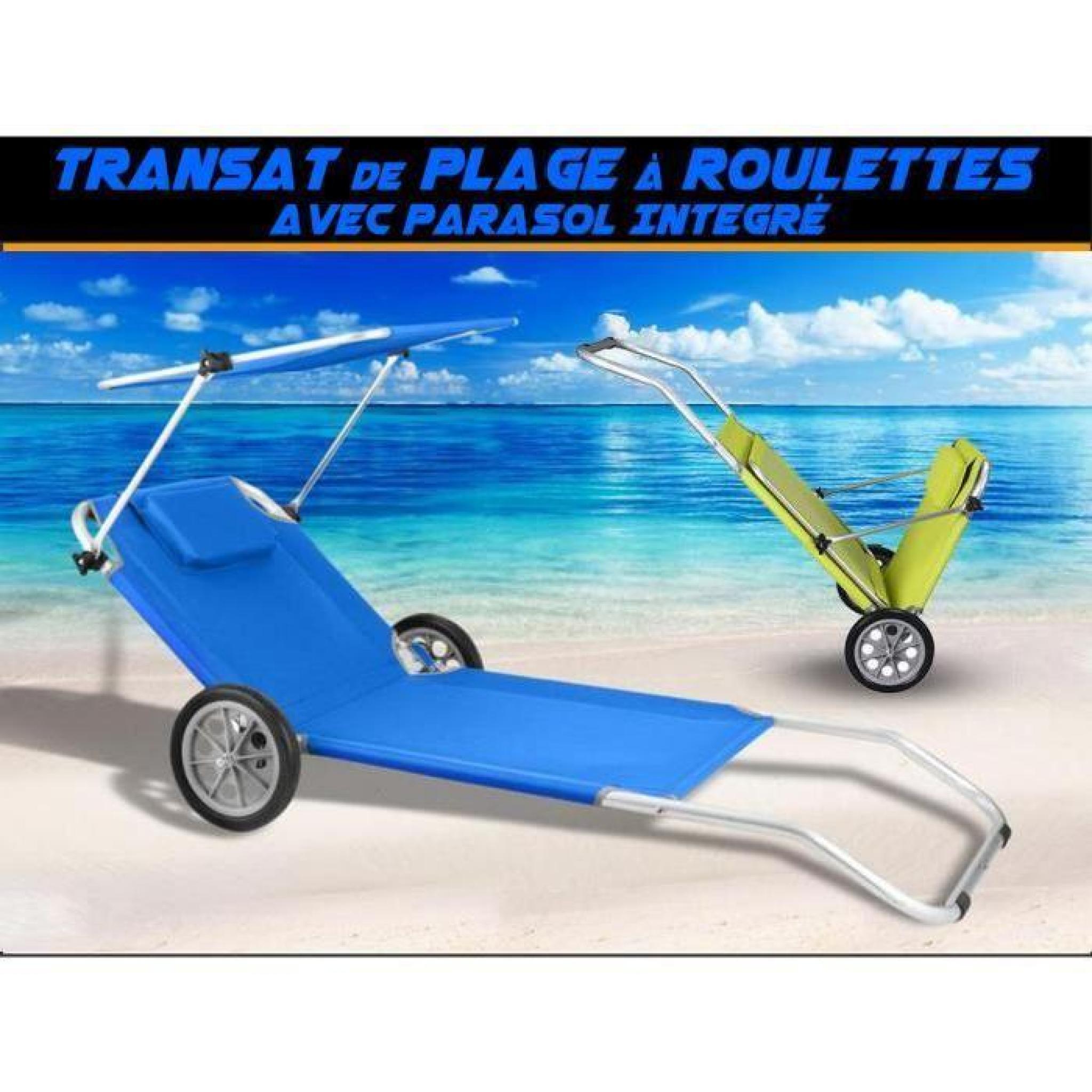 Transat Plage Chaise Longue A Roulettes Malibu Bleu Parasol Integre Chariot Achat Vente Transat De Jardin Pas Cher Coindujardin Com