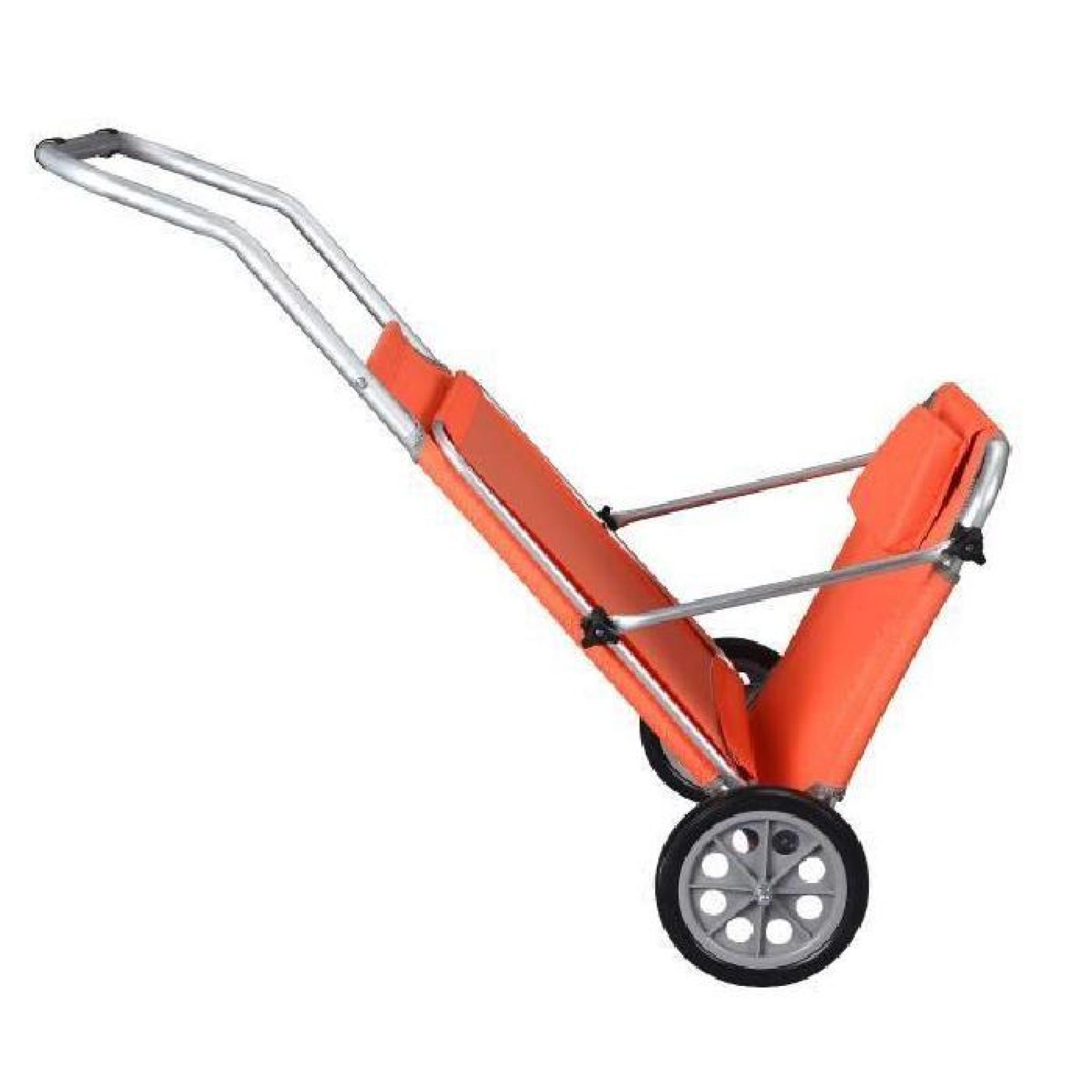 transat plage chaise longue roulettes malibu orange parasol integr chariot - Transat De Plage