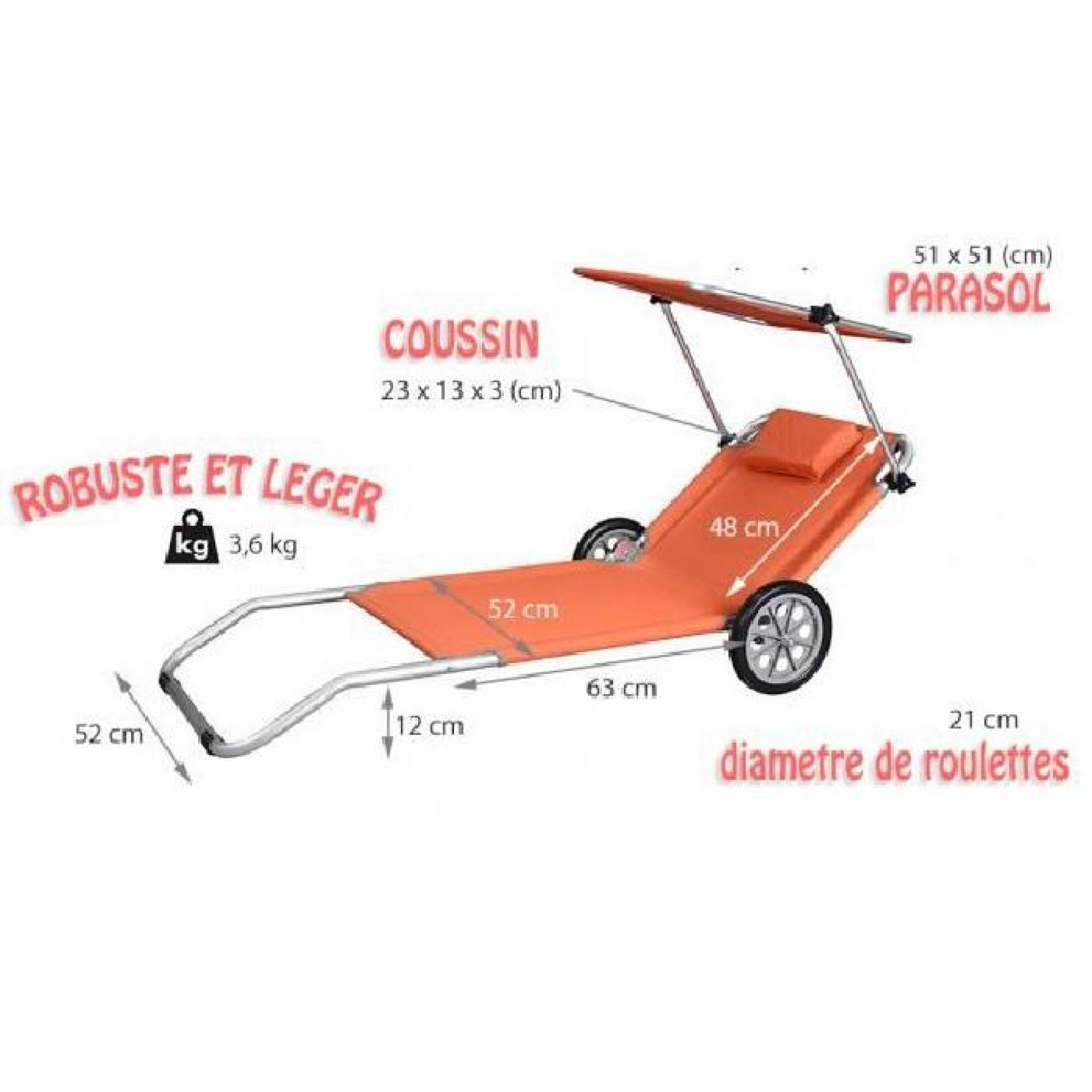 Transat Plage Chaise Longue A Roulettes Malibu Orange Parasol Integre Chariot Achat Vente Transat De Jardin Pas Cher Coindujardin Com